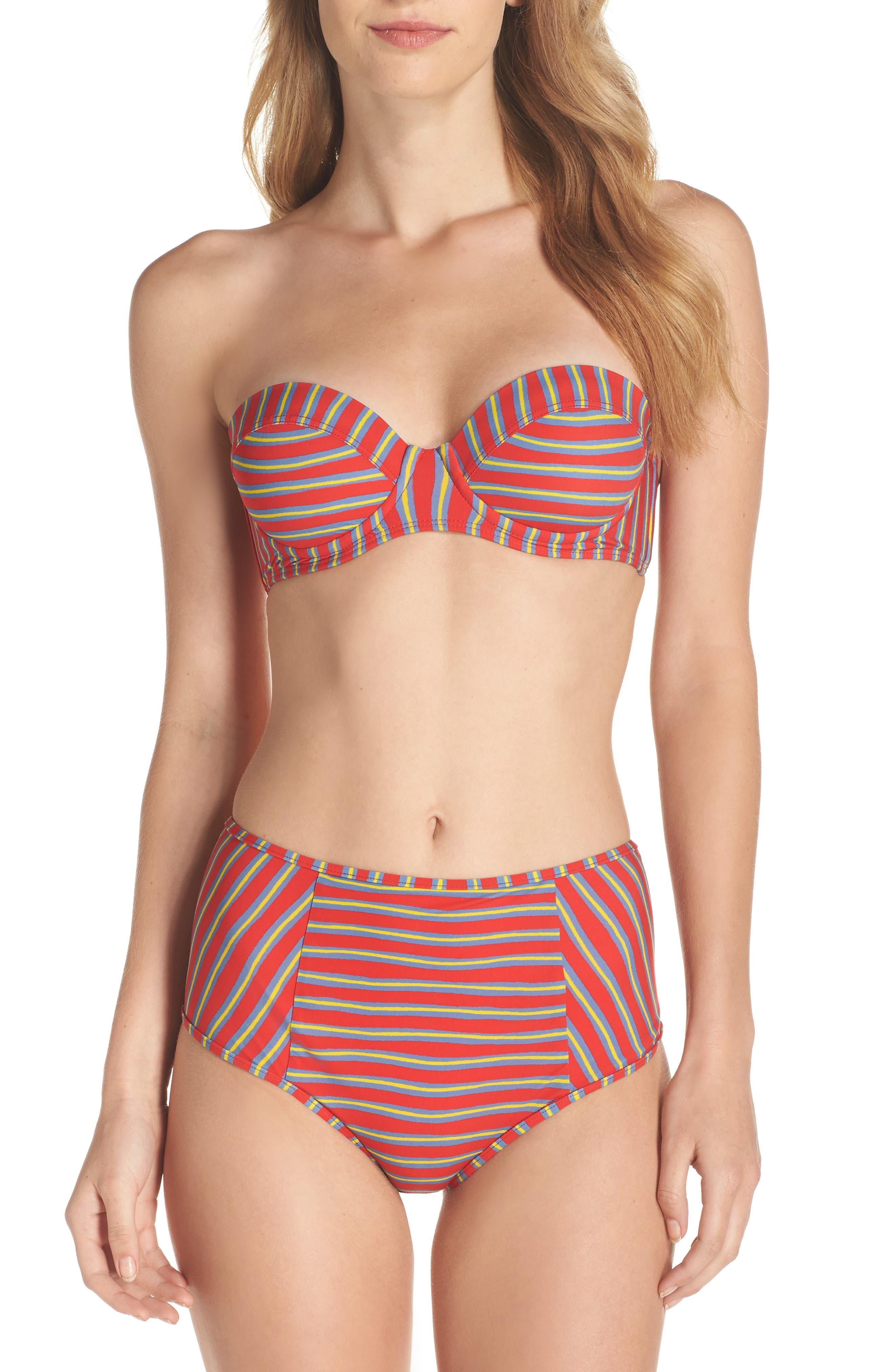Strapless Bikini Top,                             Alternate thumbnail 7, color,                             Bodin Stripe Bright Red
