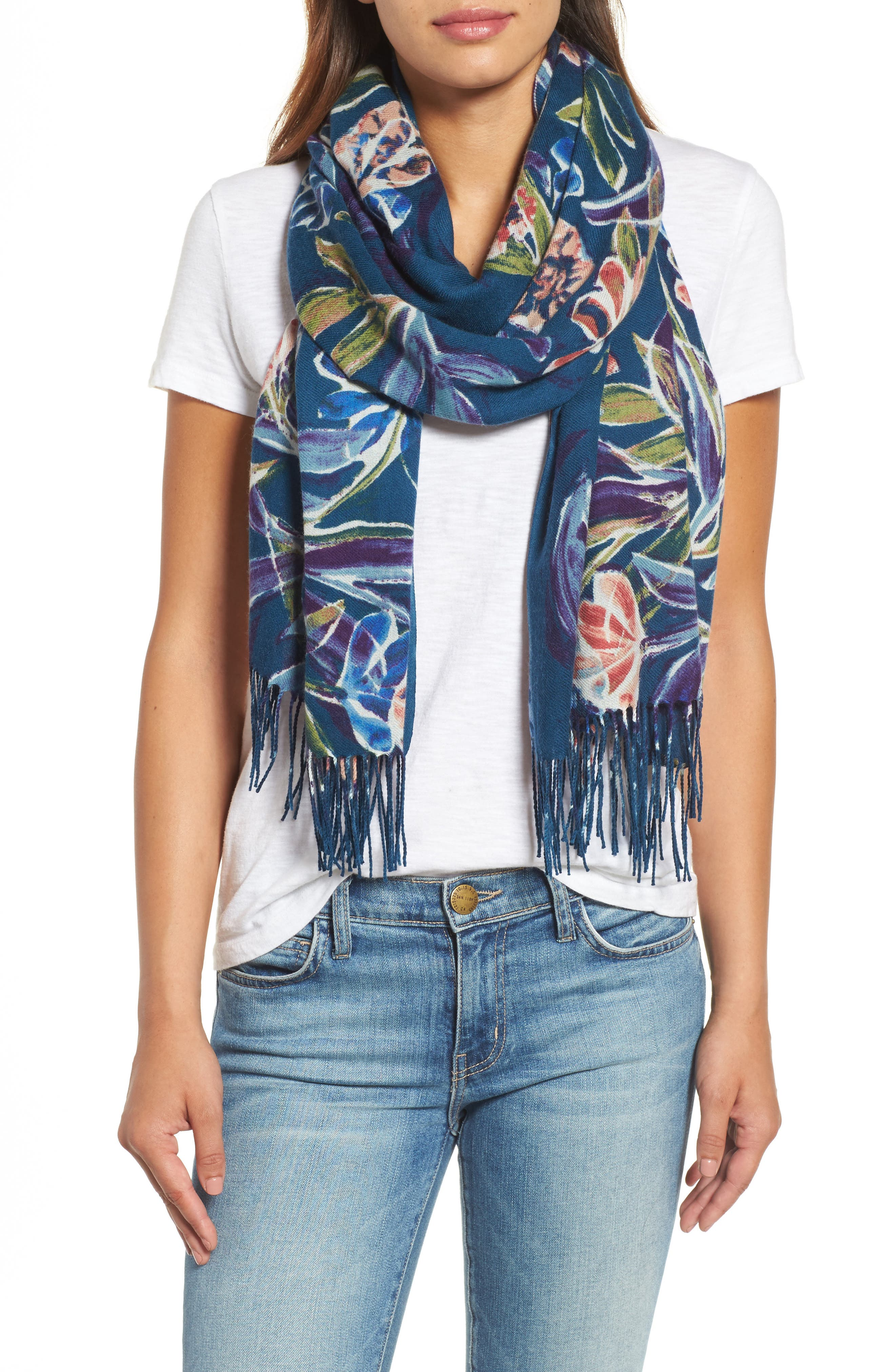 Pressed Flowers Tissue Weight Wool & Cashmere Scarf,                         Main,                         color, Teal Combo
