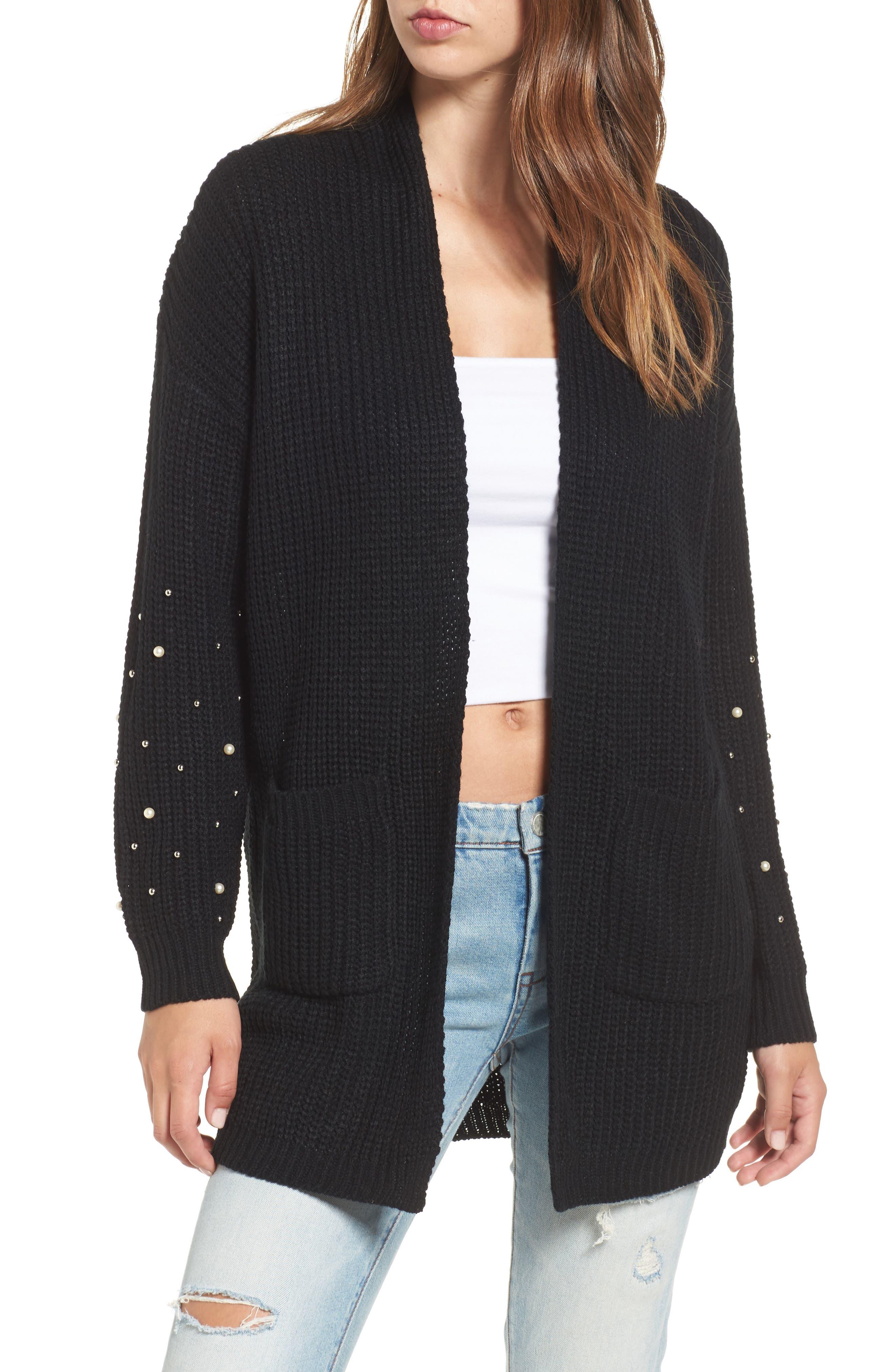 Faux Pearl Detail Cardigan,                         Main,                         color, Black