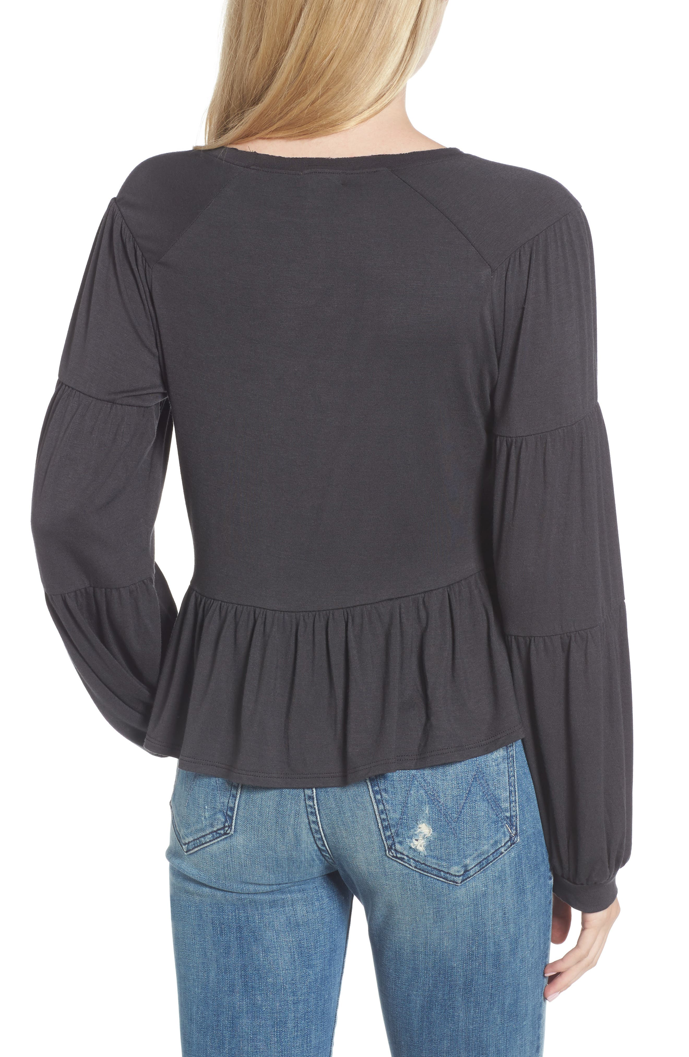 Peplum Tee,                             Alternate thumbnail 2, color,                             Grey Phantom