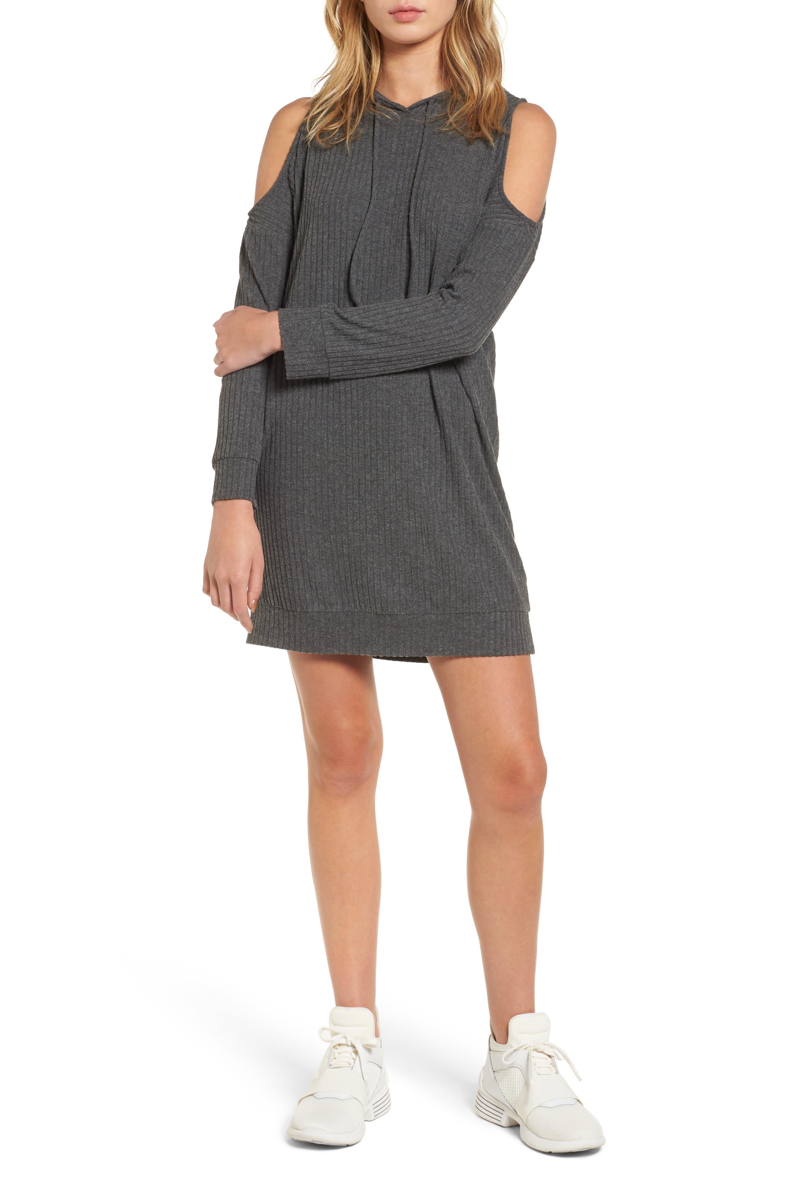 Cold Shoulder Hoodie Dress,                         Main,                         color, Charcoal