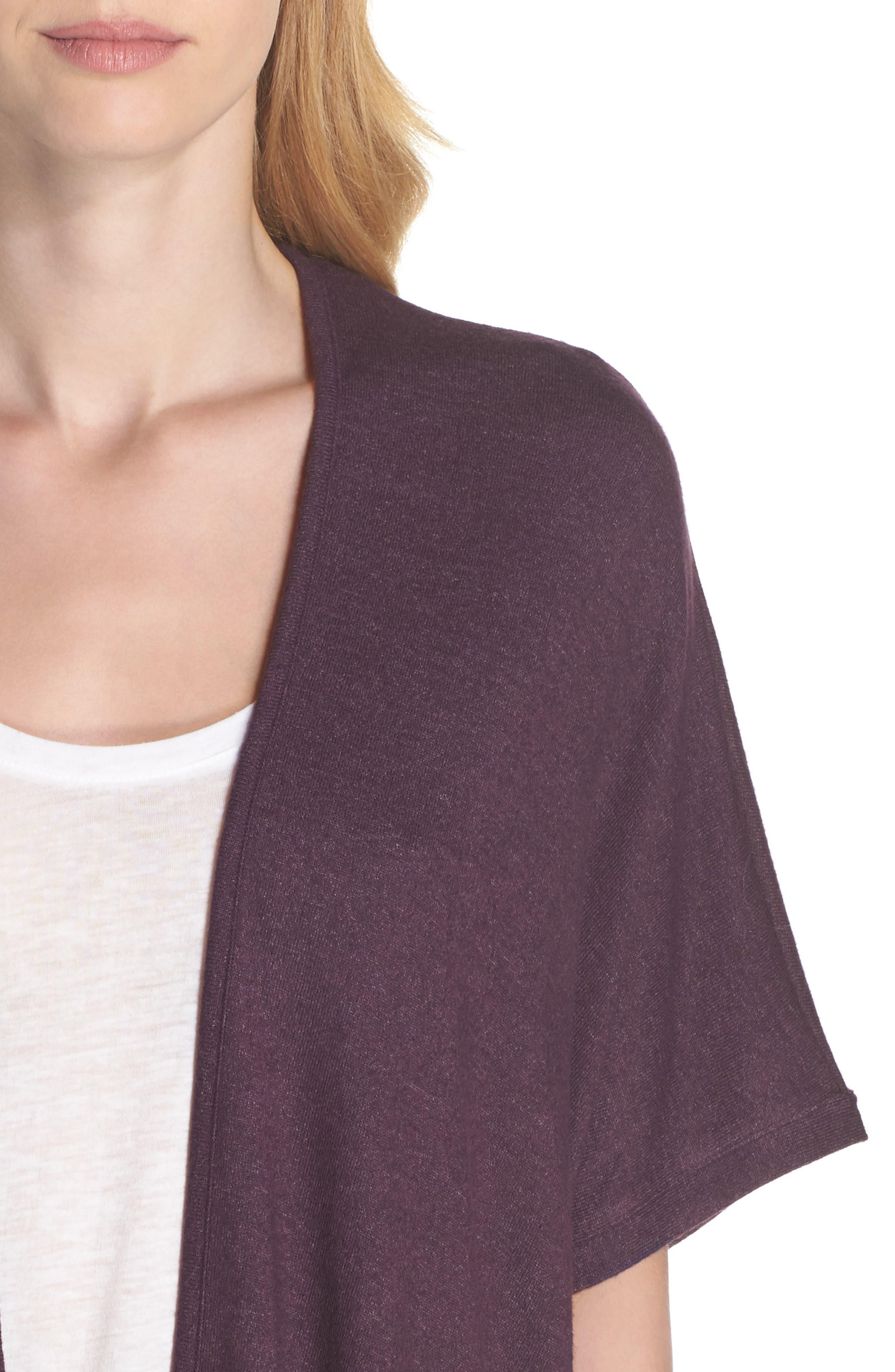 Retreat Sweater Knit Cardigan,                             Alternate thumbnail 5, color,                             Aubergine