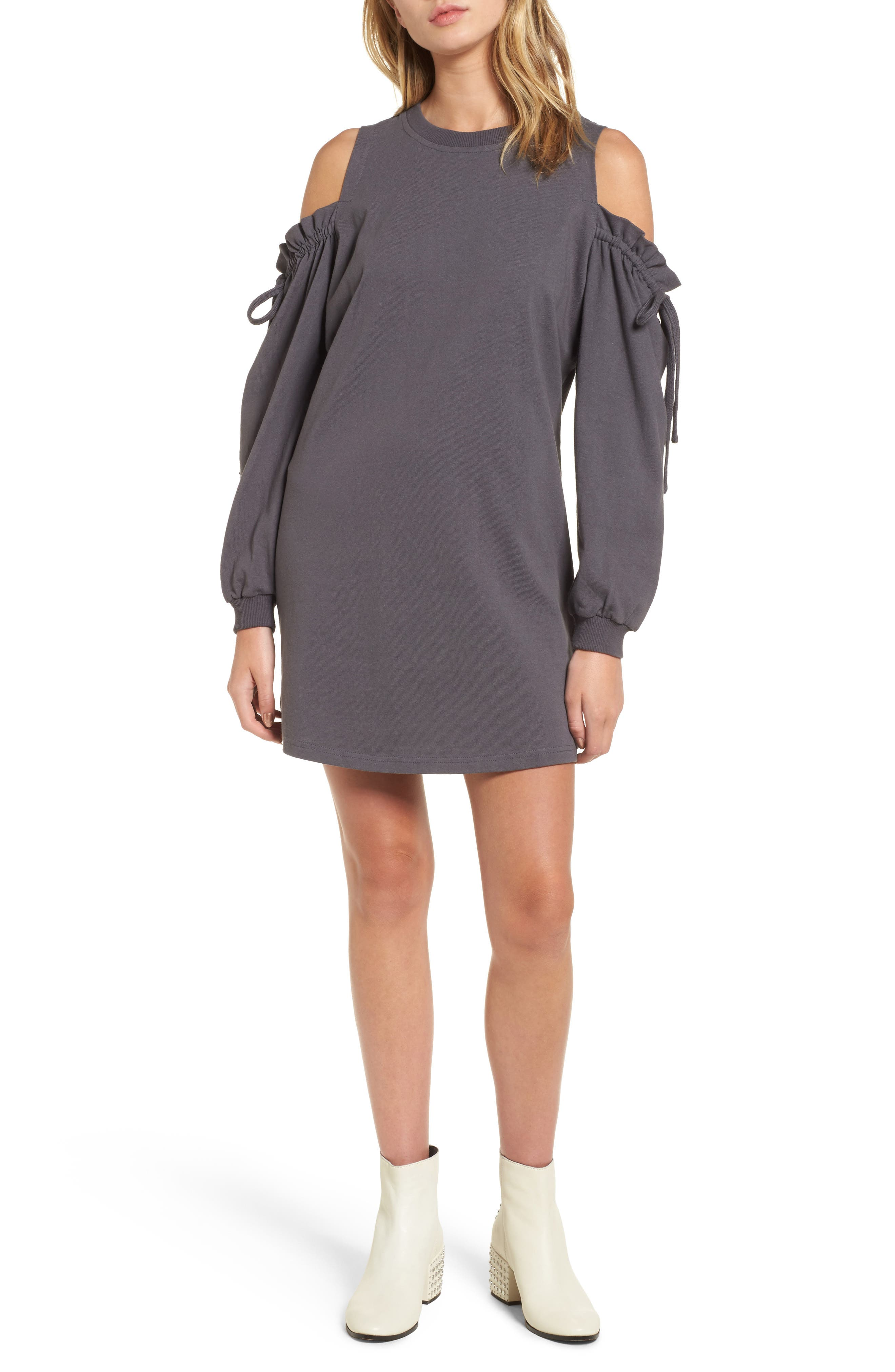 Cold Shoulder Sweatshirt Dress