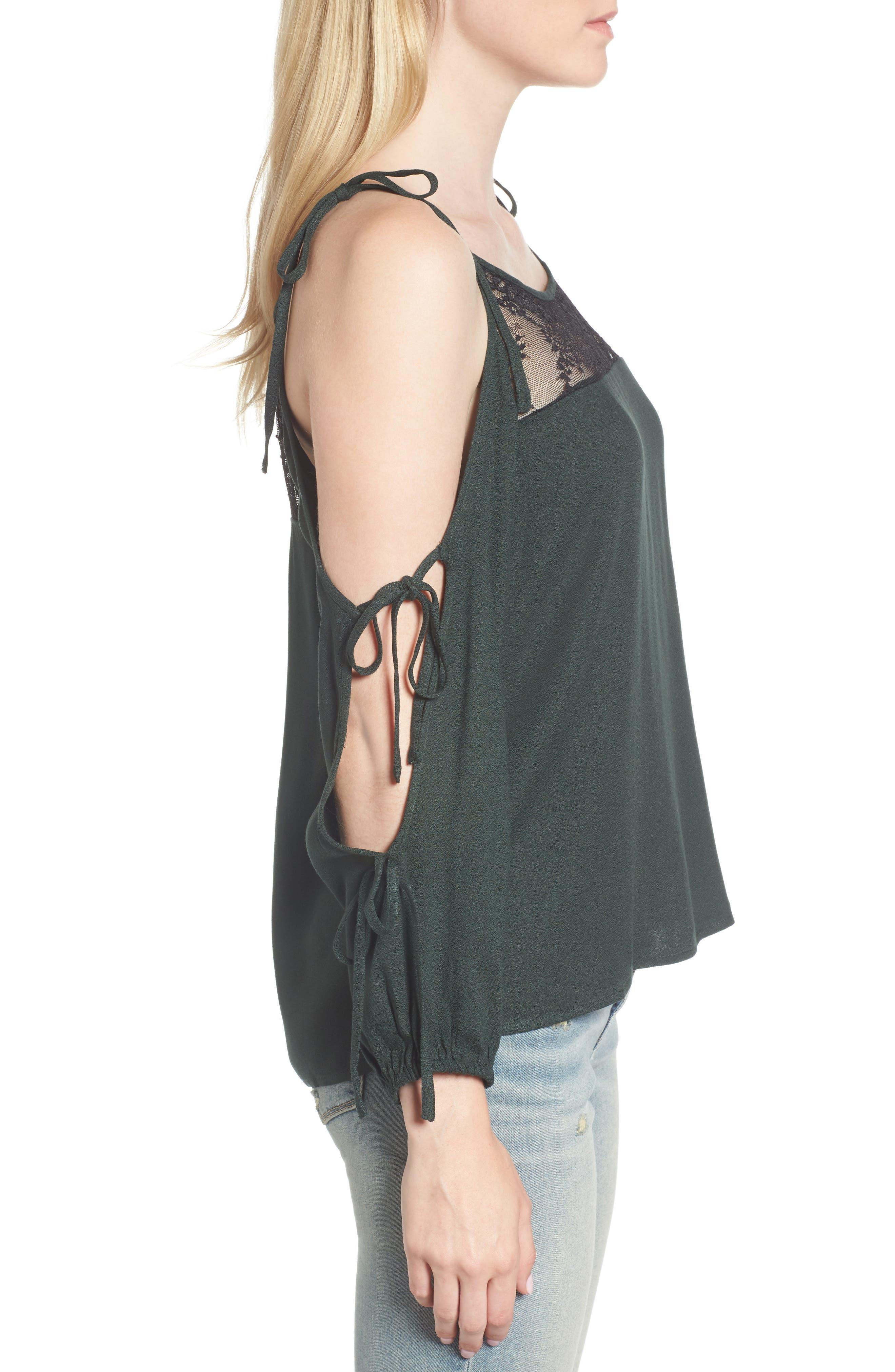 Alternate Image 3  - Ella Moss Tie Sleeve Cold Shoulder Top