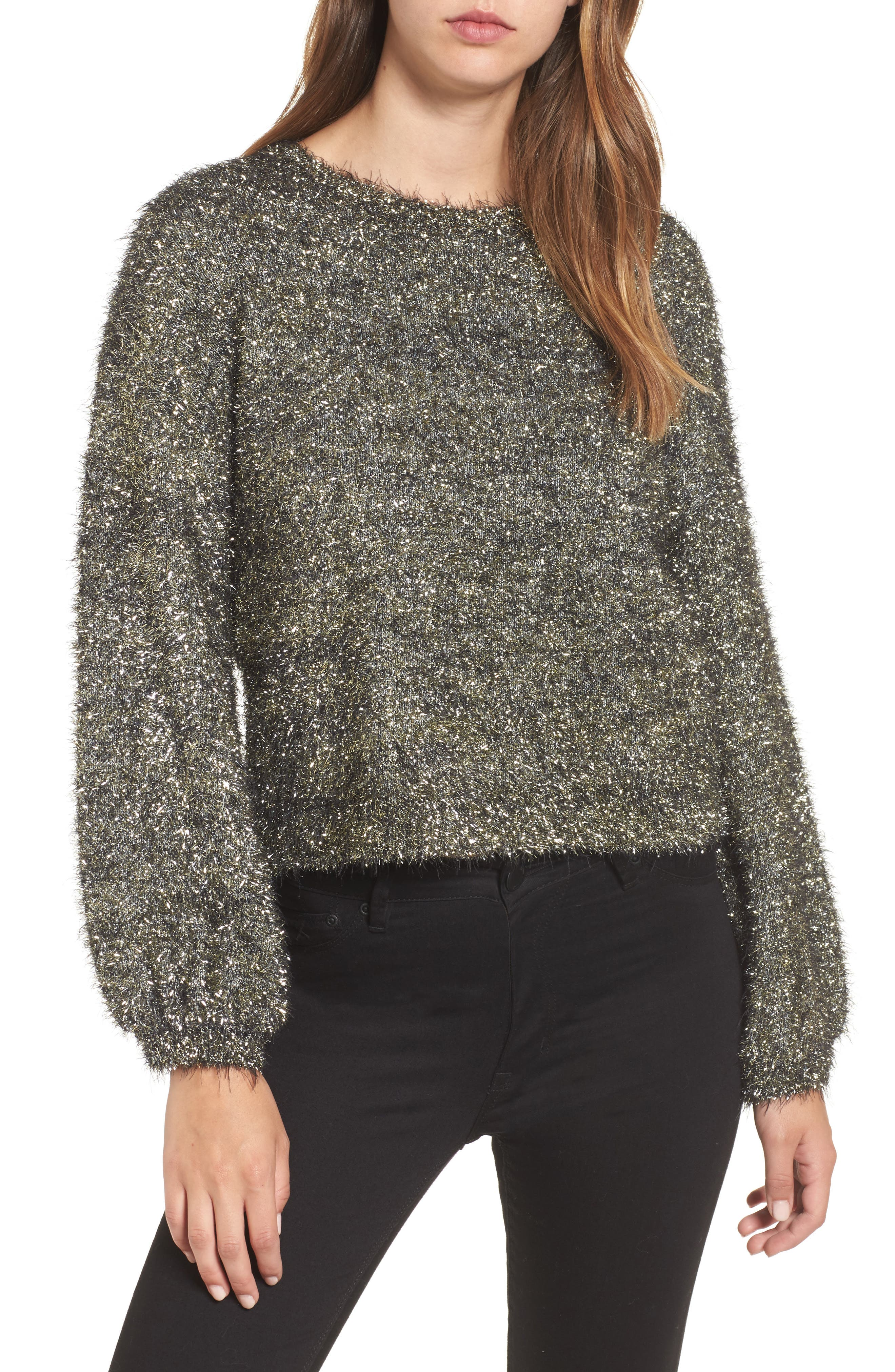Fluffy Sparkle Sweater,                         Main,                         color, Metallic Gold