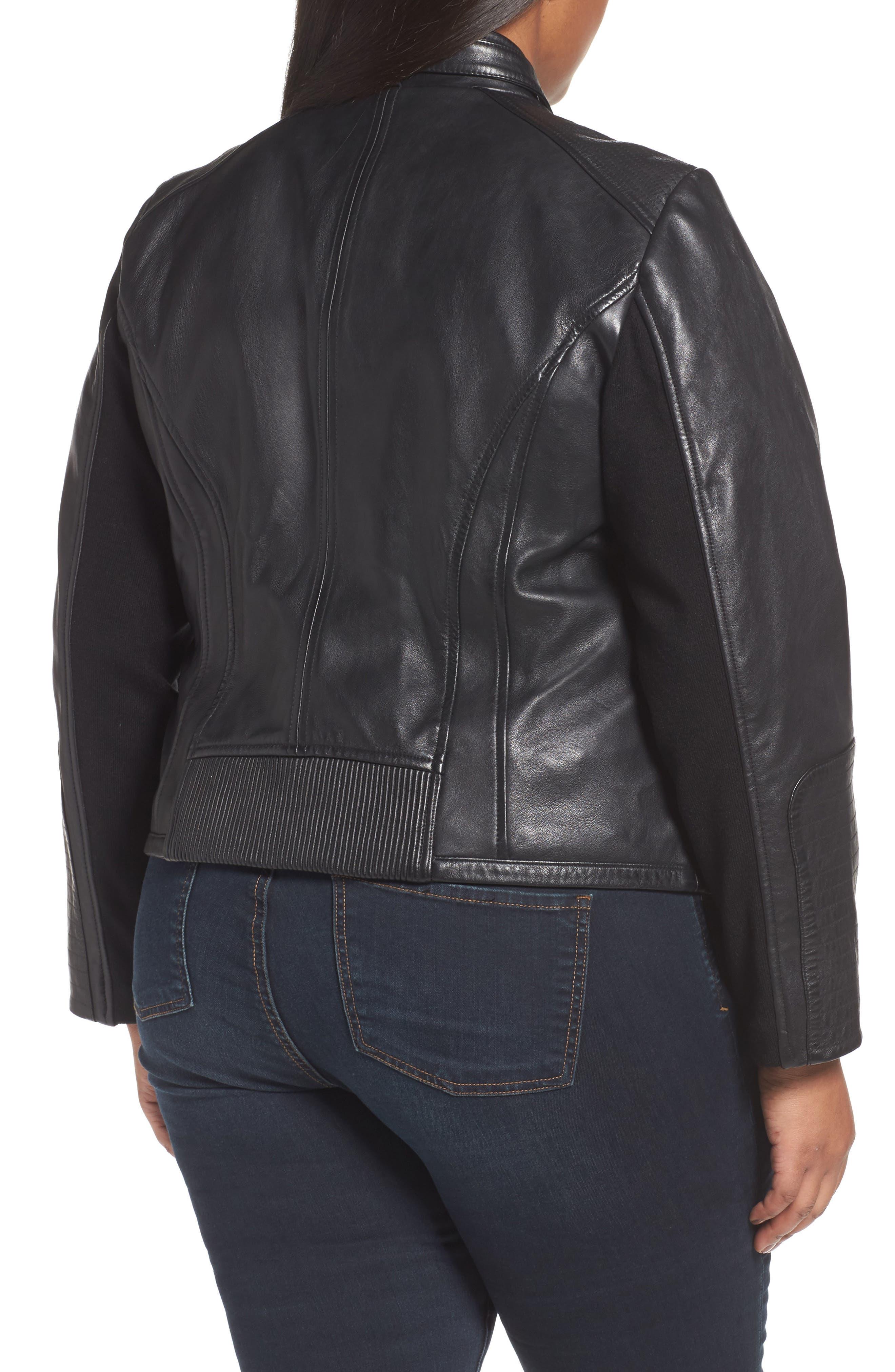 Alternate Image 2  - Bernardo Leather Moto Jacket (Plus Size)