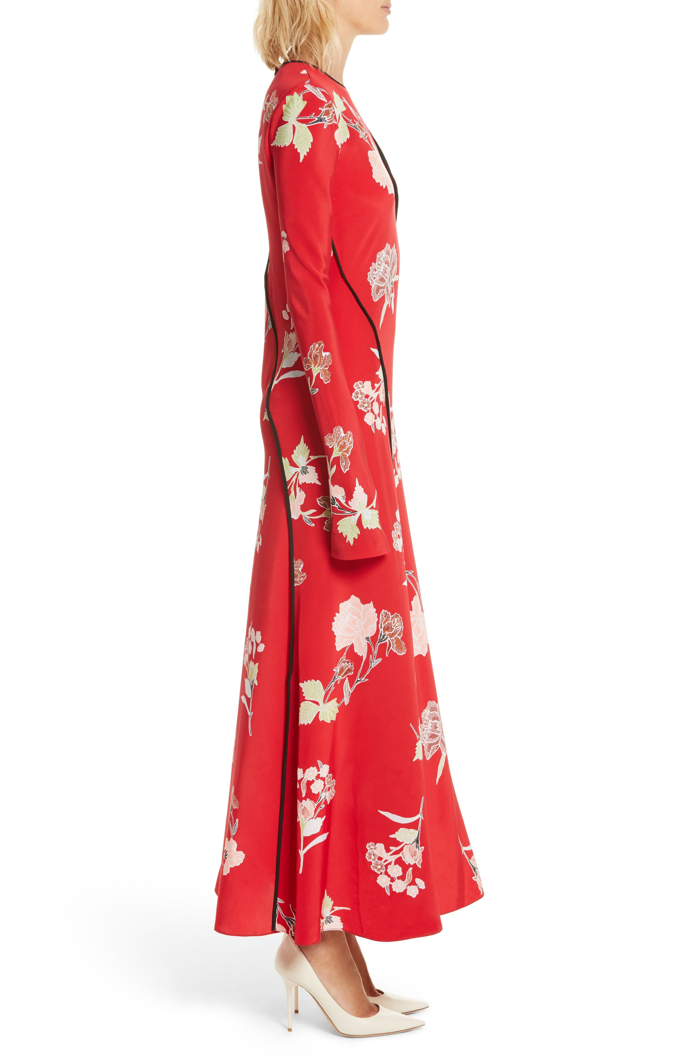 Bias Cut Floral Silk Maxi Dress,                             Alternate thumbnail 3, color,                             Everton Lipstick / Black