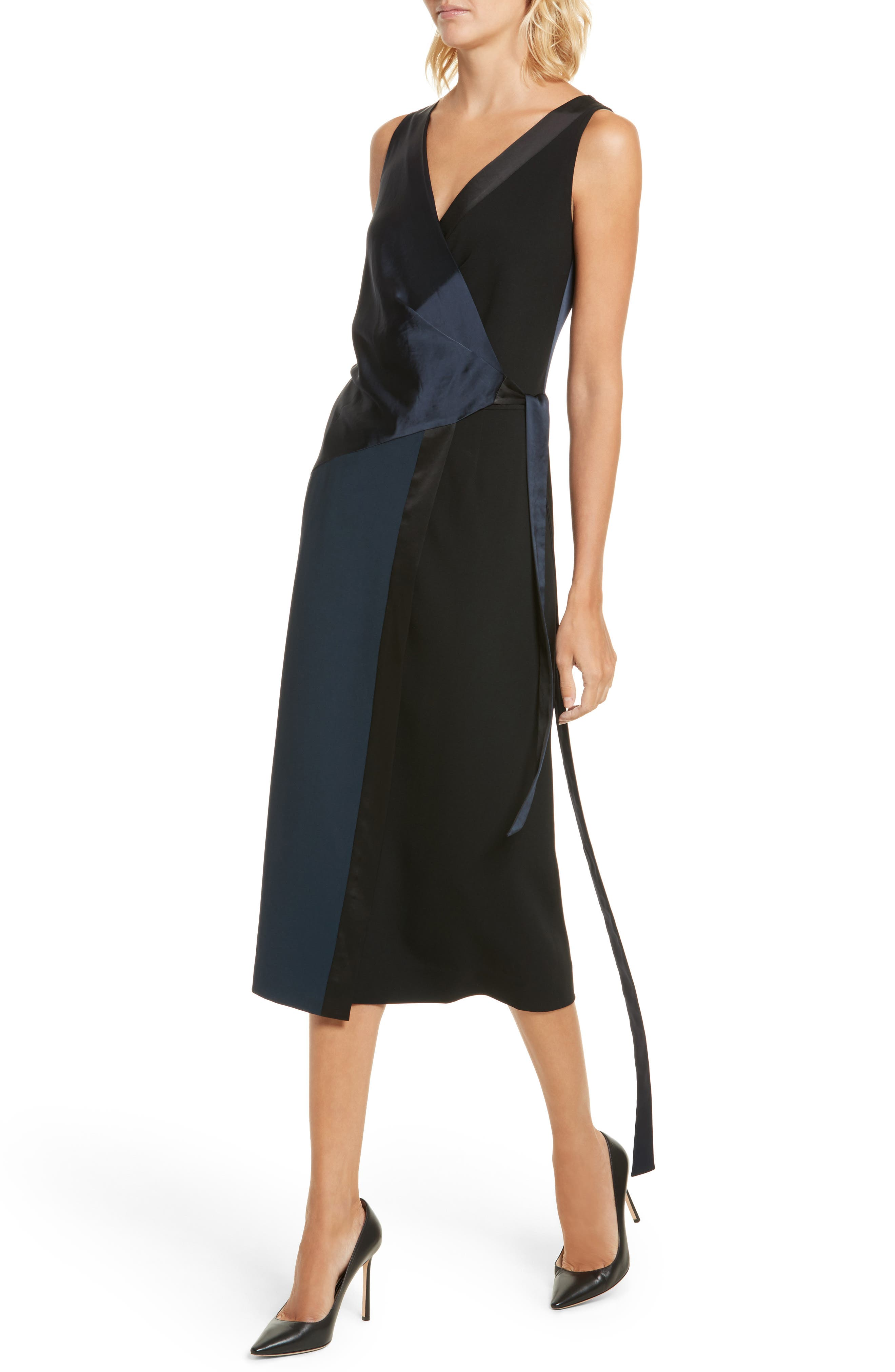 Midi Wrap Dress,                             Alternate thumbnail 4, color,                             Alexander Navy/ Black