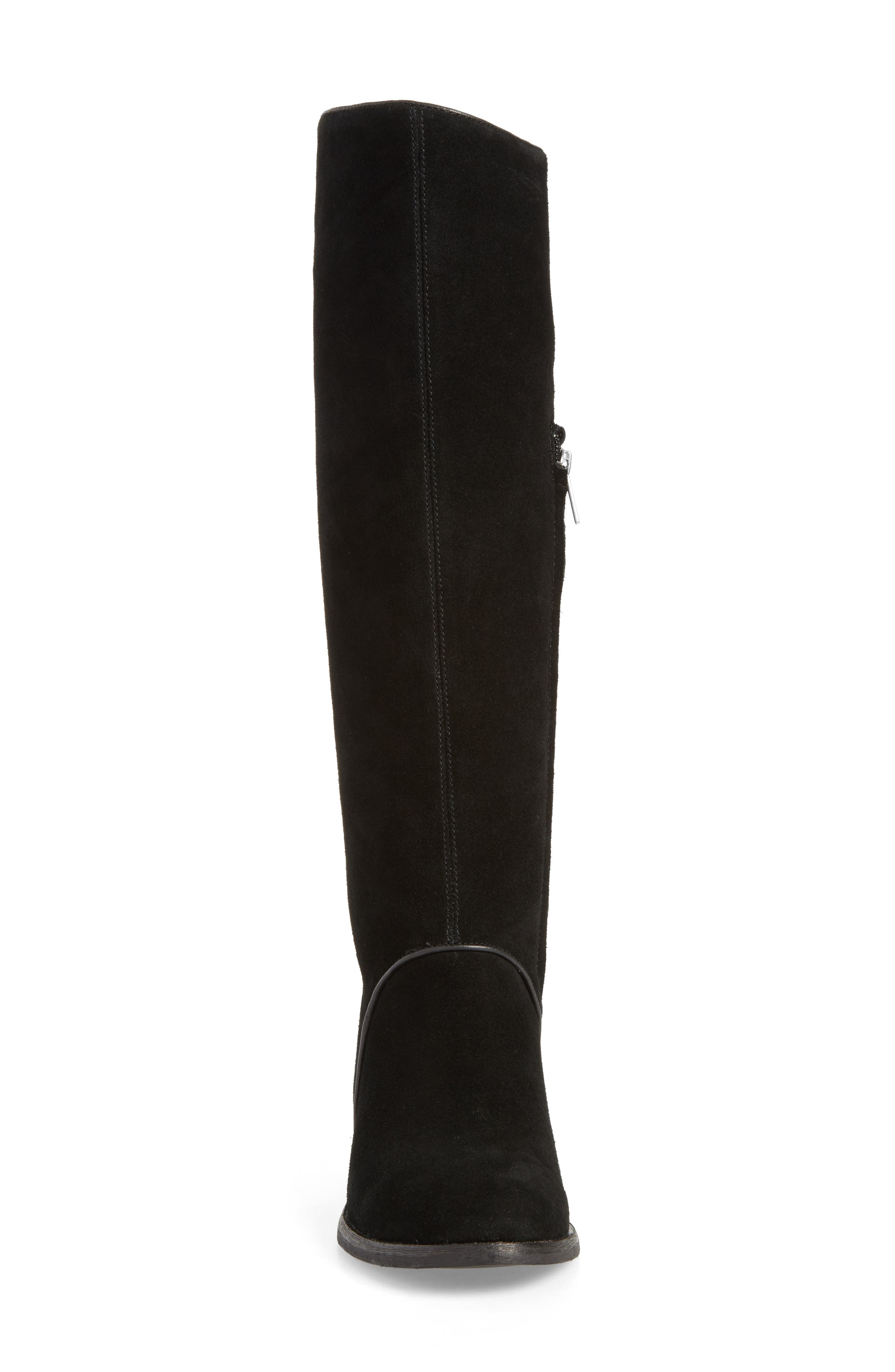 Gracen Knee High Boot,                             Alternate thumbnail 4, color,                             Black Suede