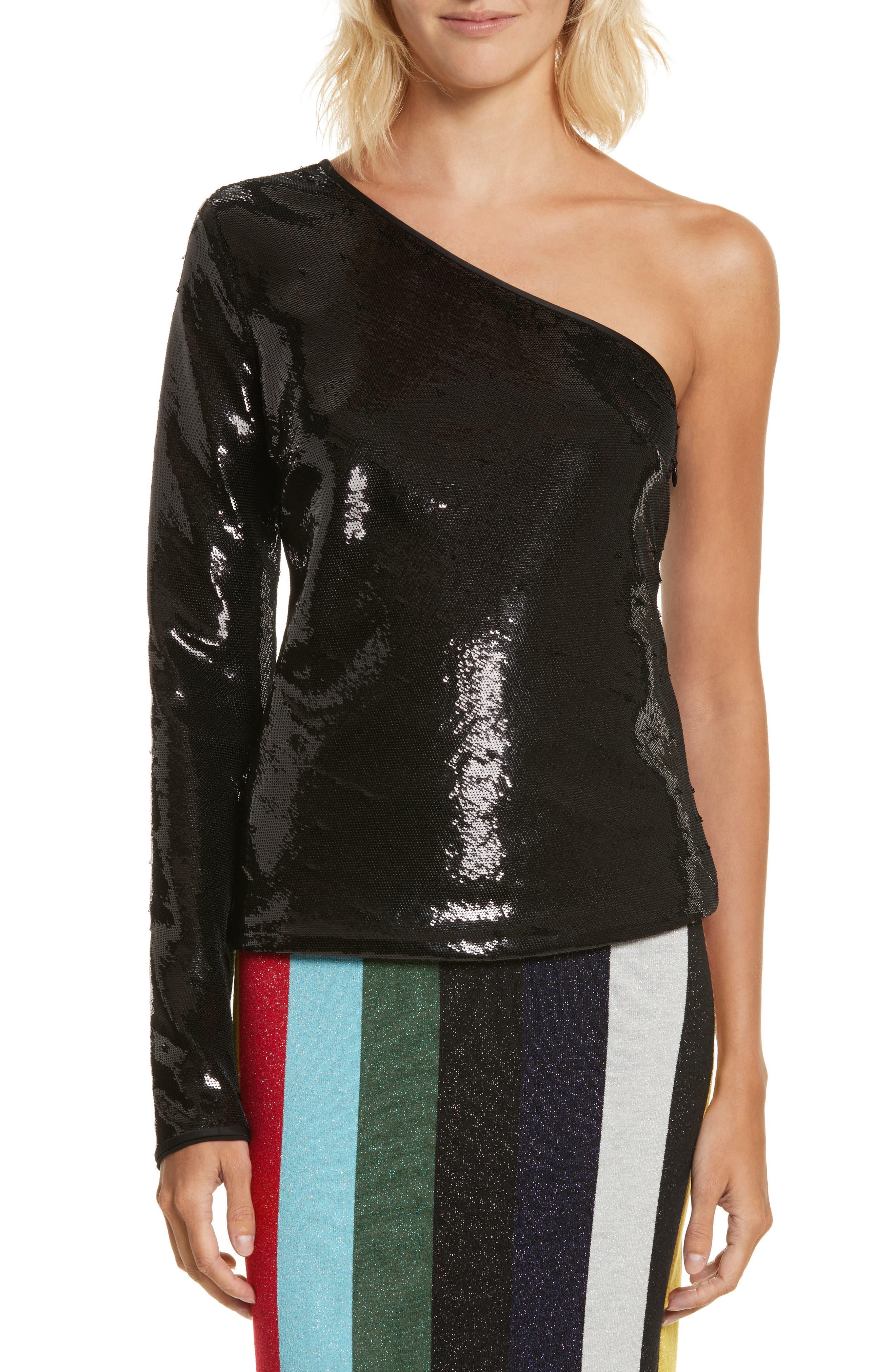 Sequin One-Shoulder Top,                             Main thumbnail 1, color,                             Black
