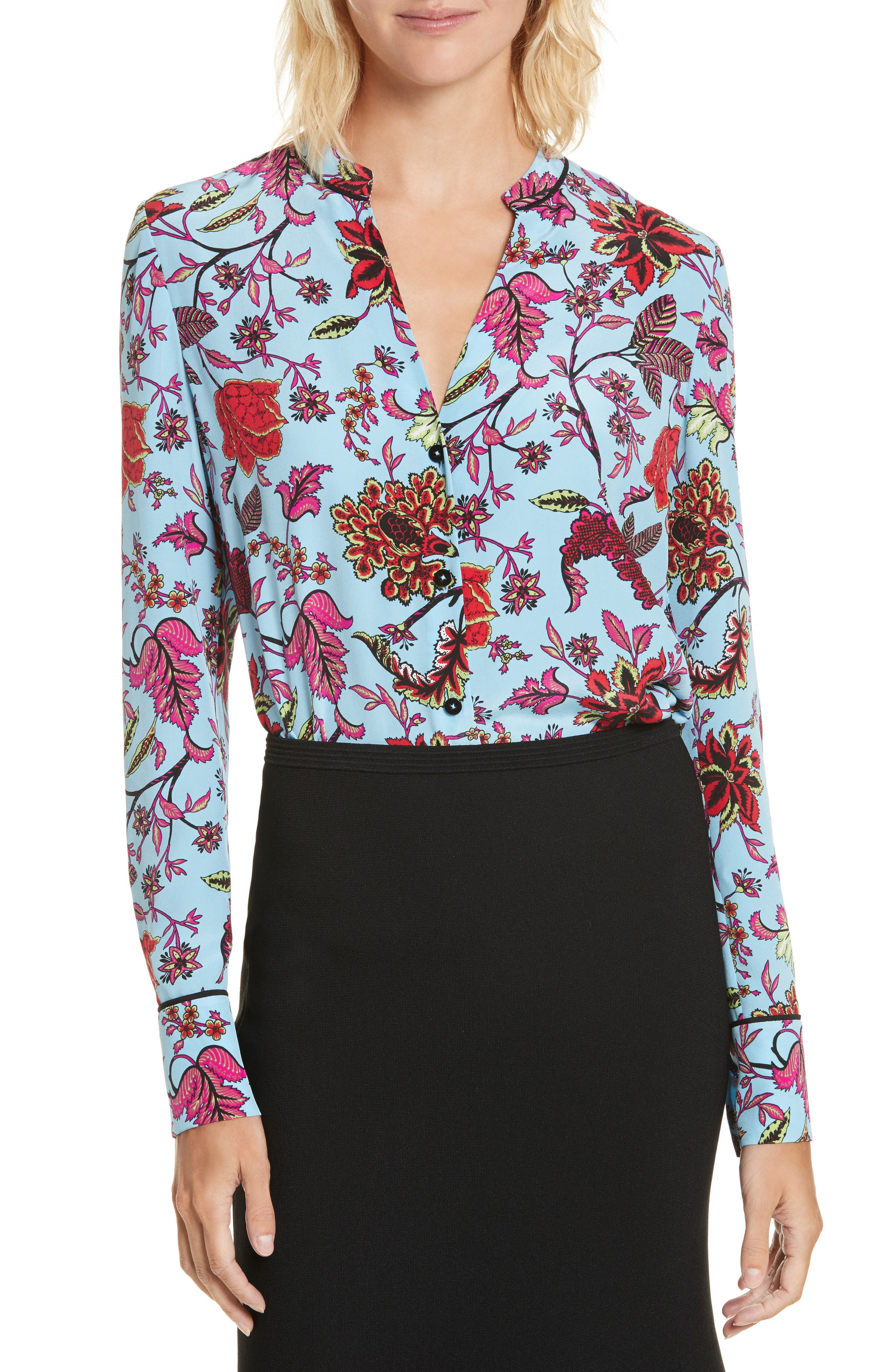 Floral Silk Blouse,                             Main thumbnail 1, color,                             Canton Notebook/ Black