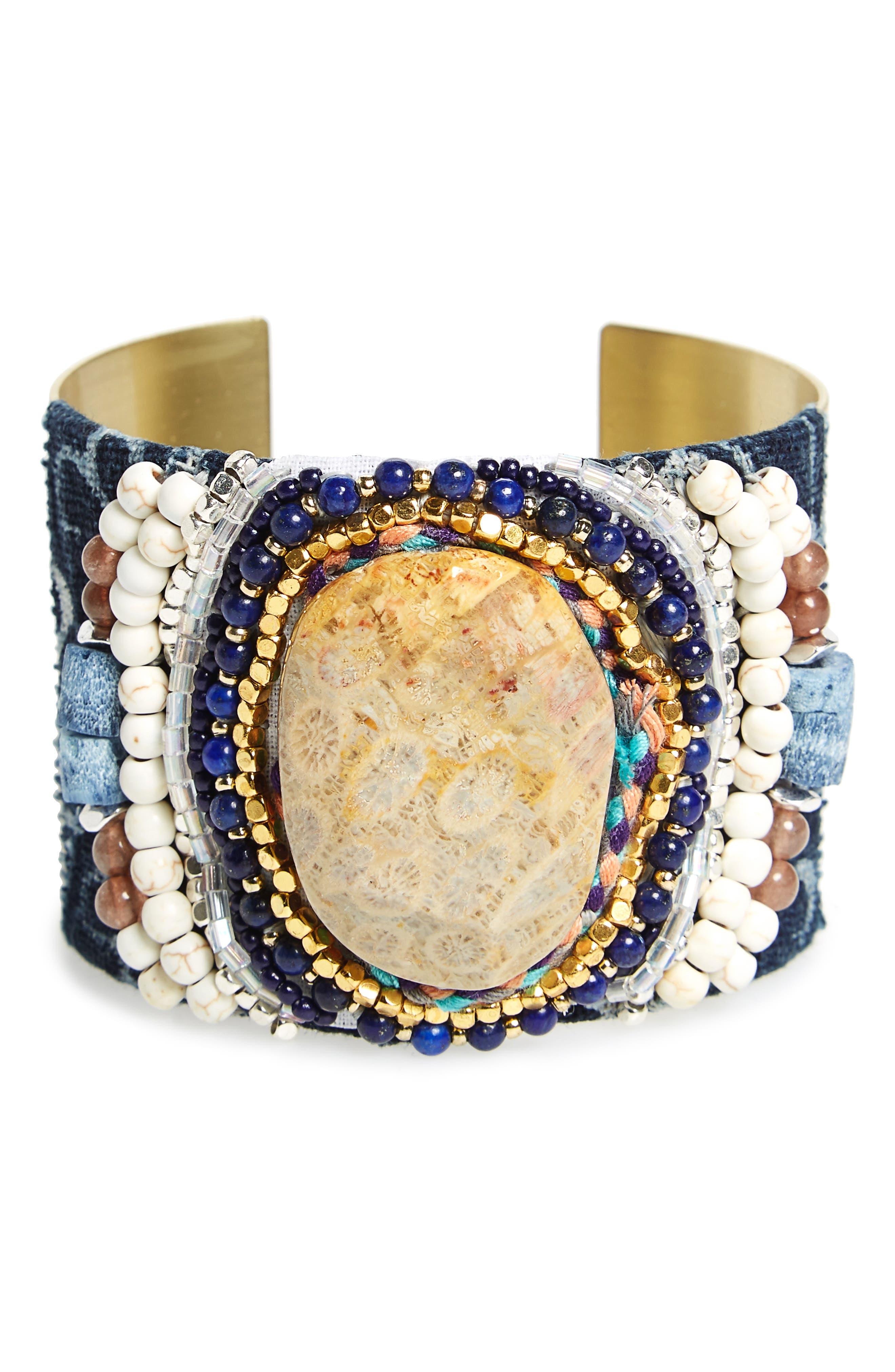 Semiprecious Stone Metal Cuff,                             Main thumbnail 1, color,                             Blue