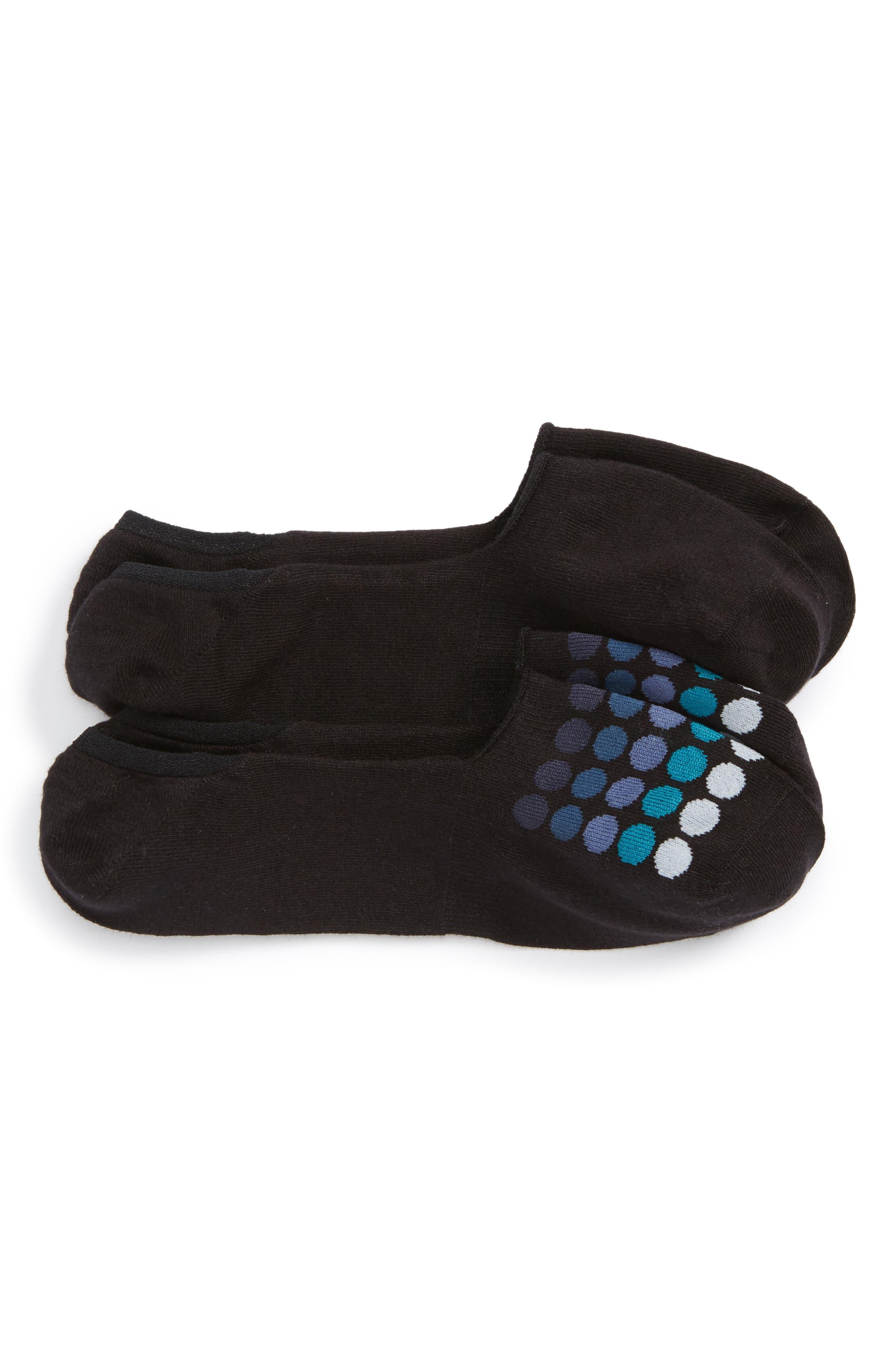 2-Pack Cotton Blend Liner Socks,                             Main thumbnail 1, color,                             Black