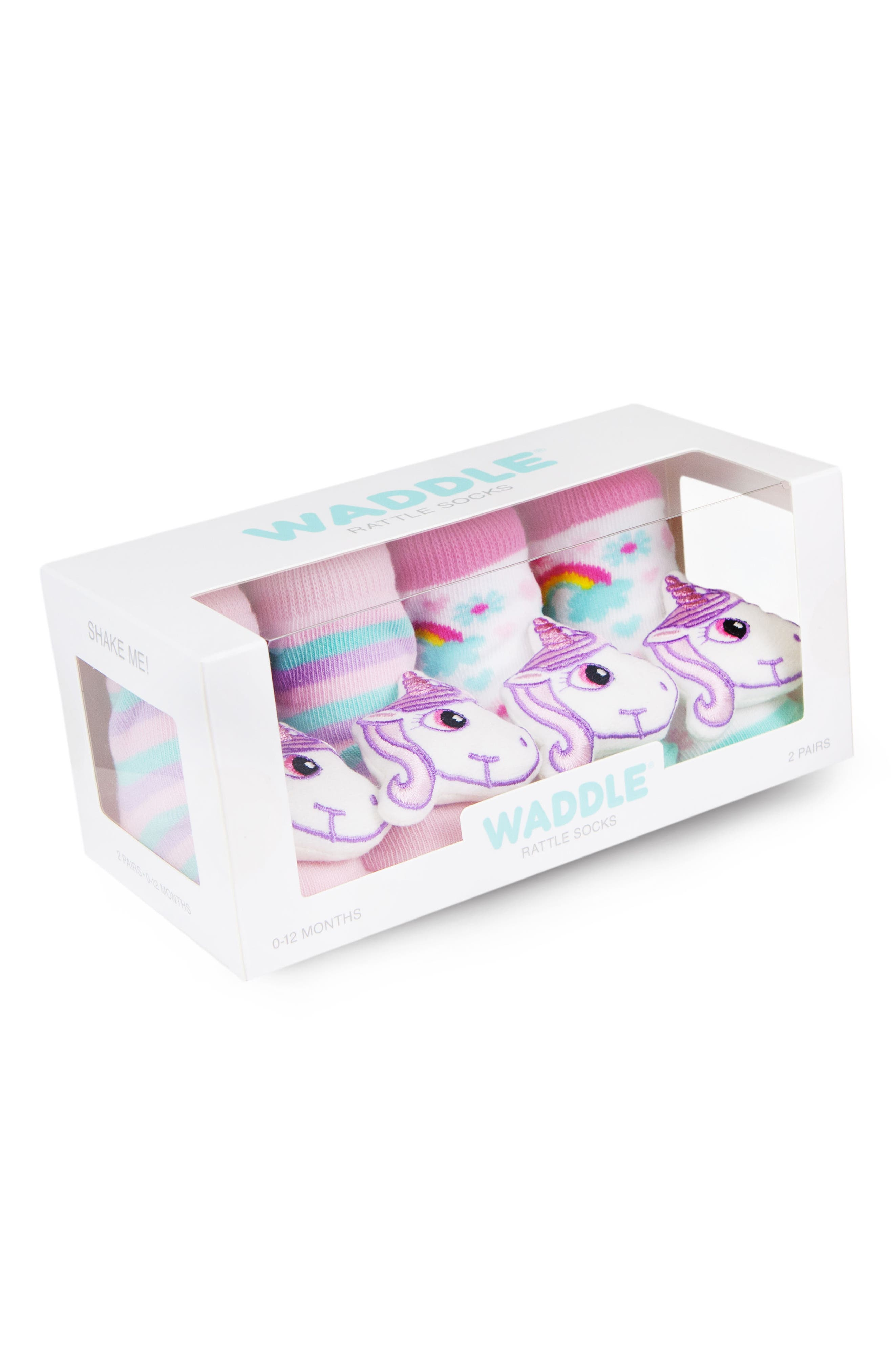& Friends 2-Pack Unicorn Rattle Socks,                             Alternate thumbnail 3, color,                             Pink/ White