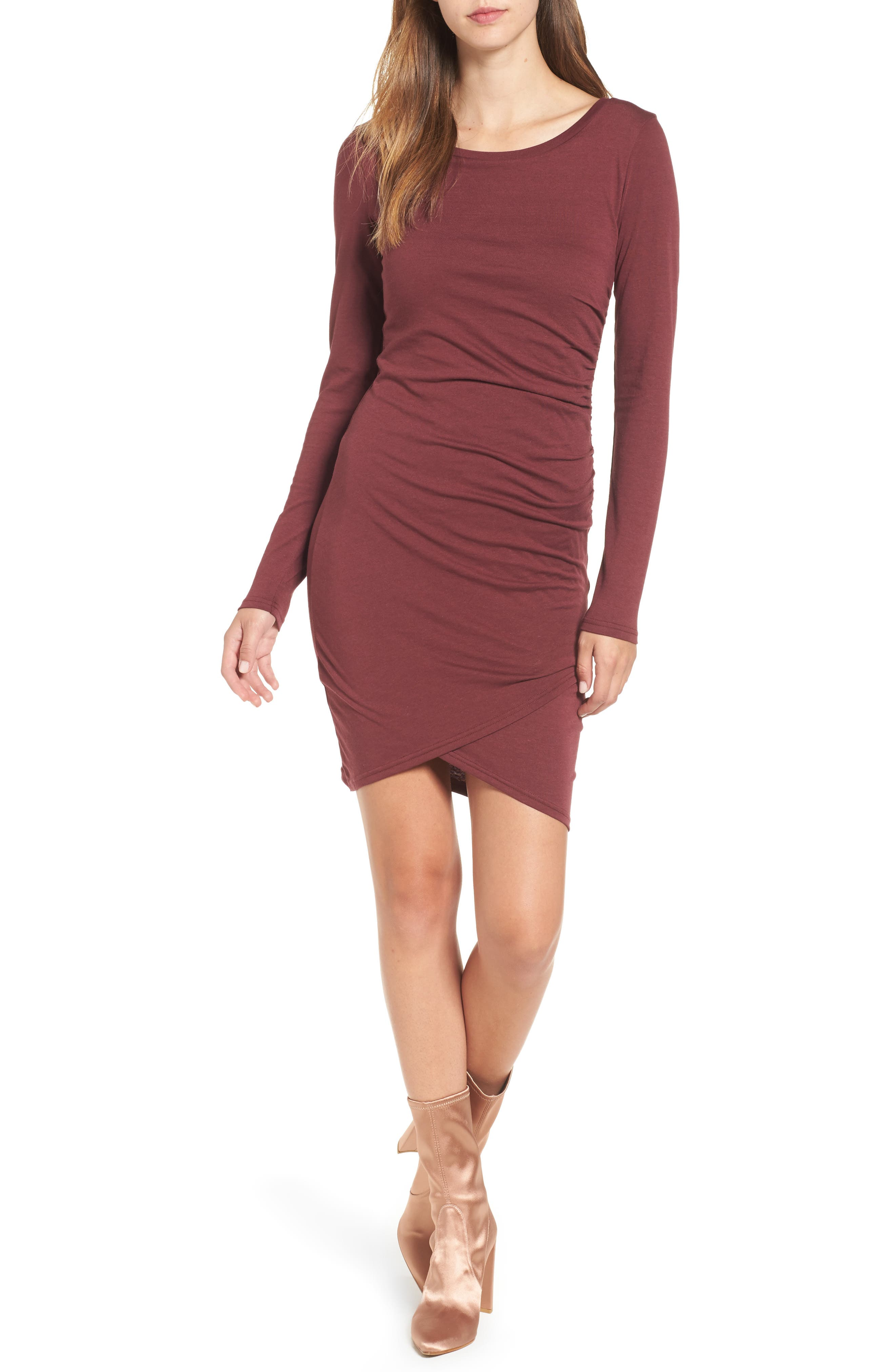 Ruched Long Sleeve Dress,                         Main,                         color, Red Tannin
