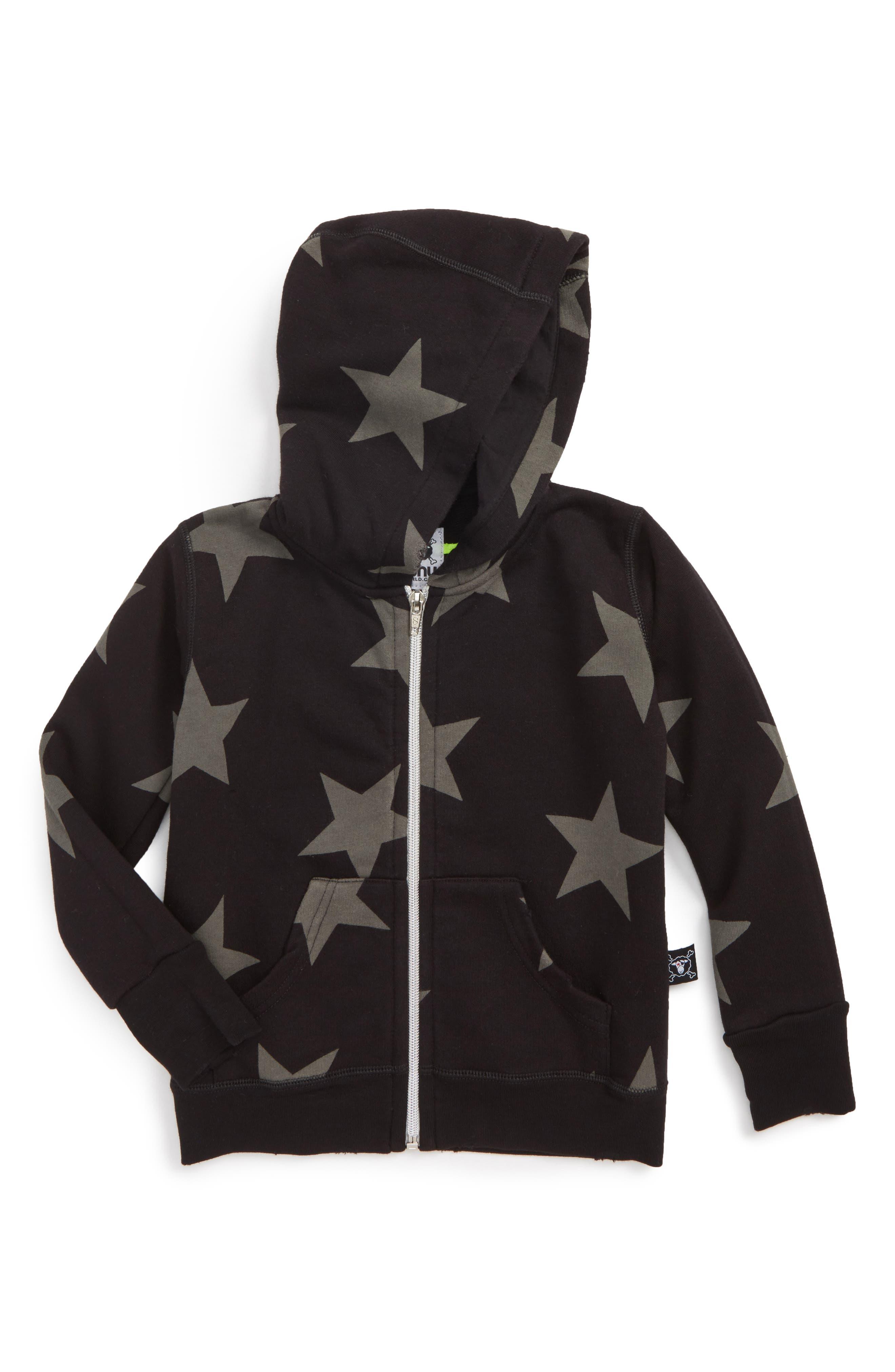 Star Zip Hoodie,                         Main,                         color, Black