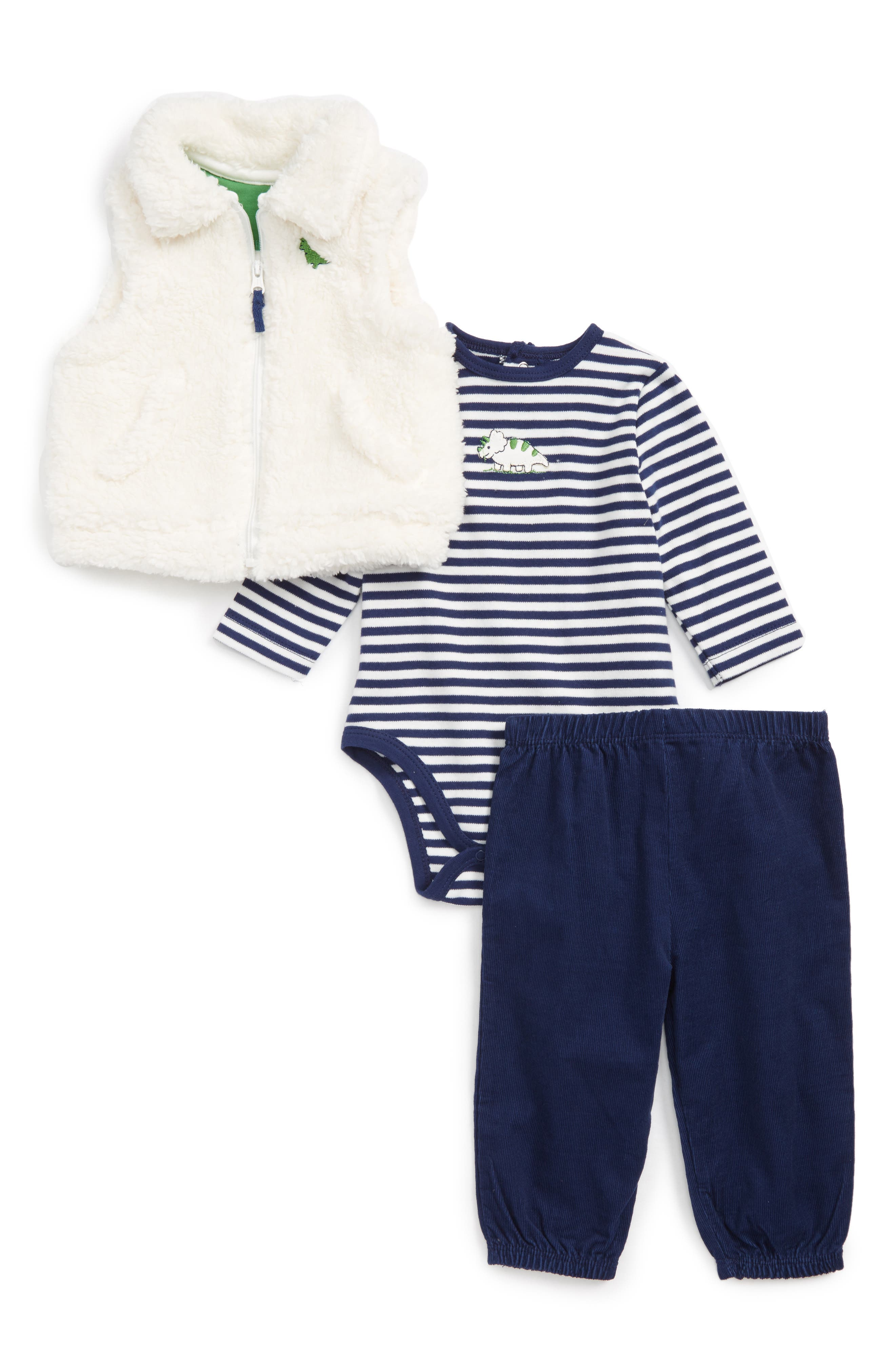 Little Me Fleece Vest, Bodysuit & Pants Set (Baby Boys)