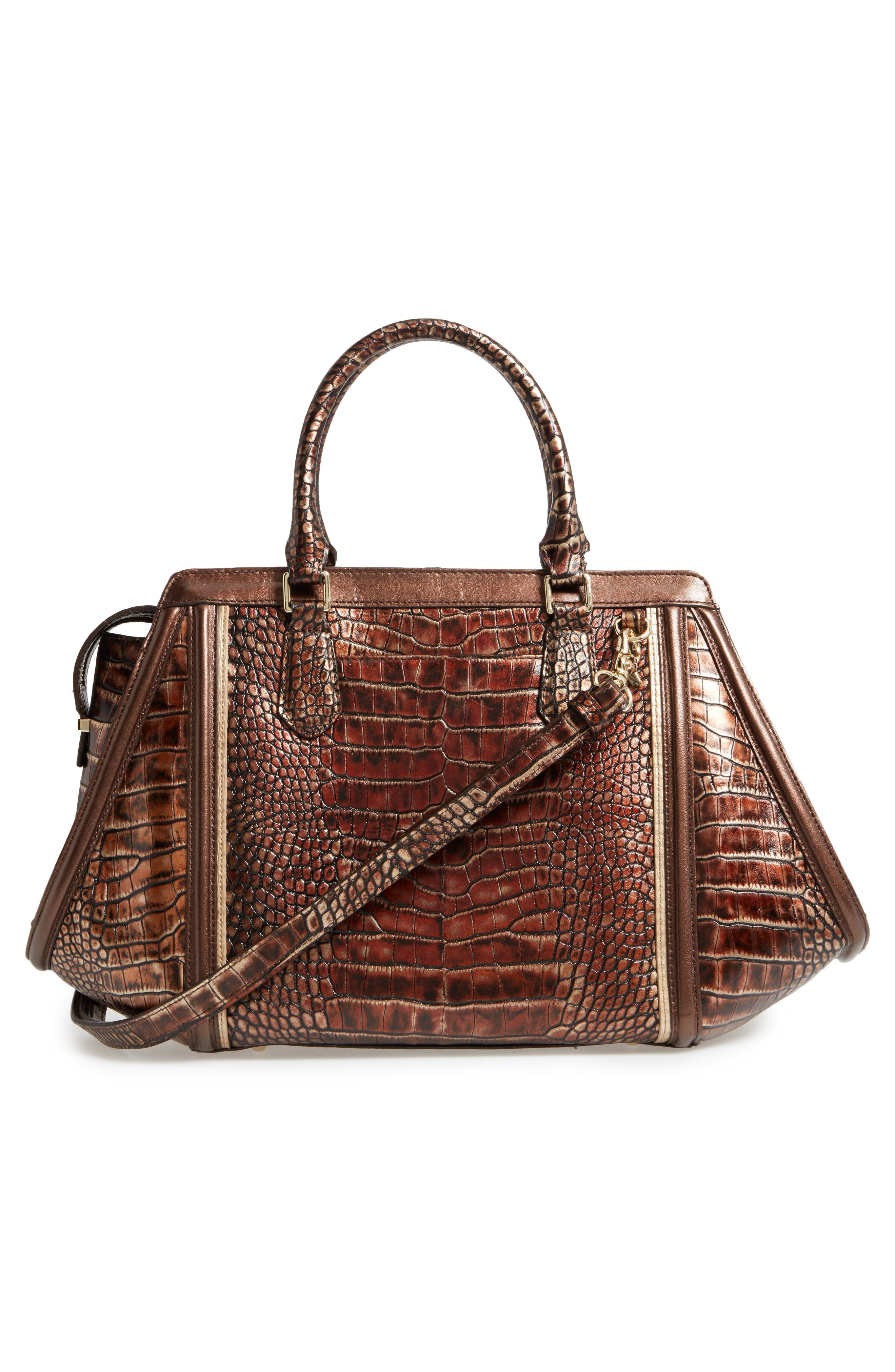 Milan Arden Embossed Leather Satchel,                             Alternate thumbnail 2, color,                             Brown