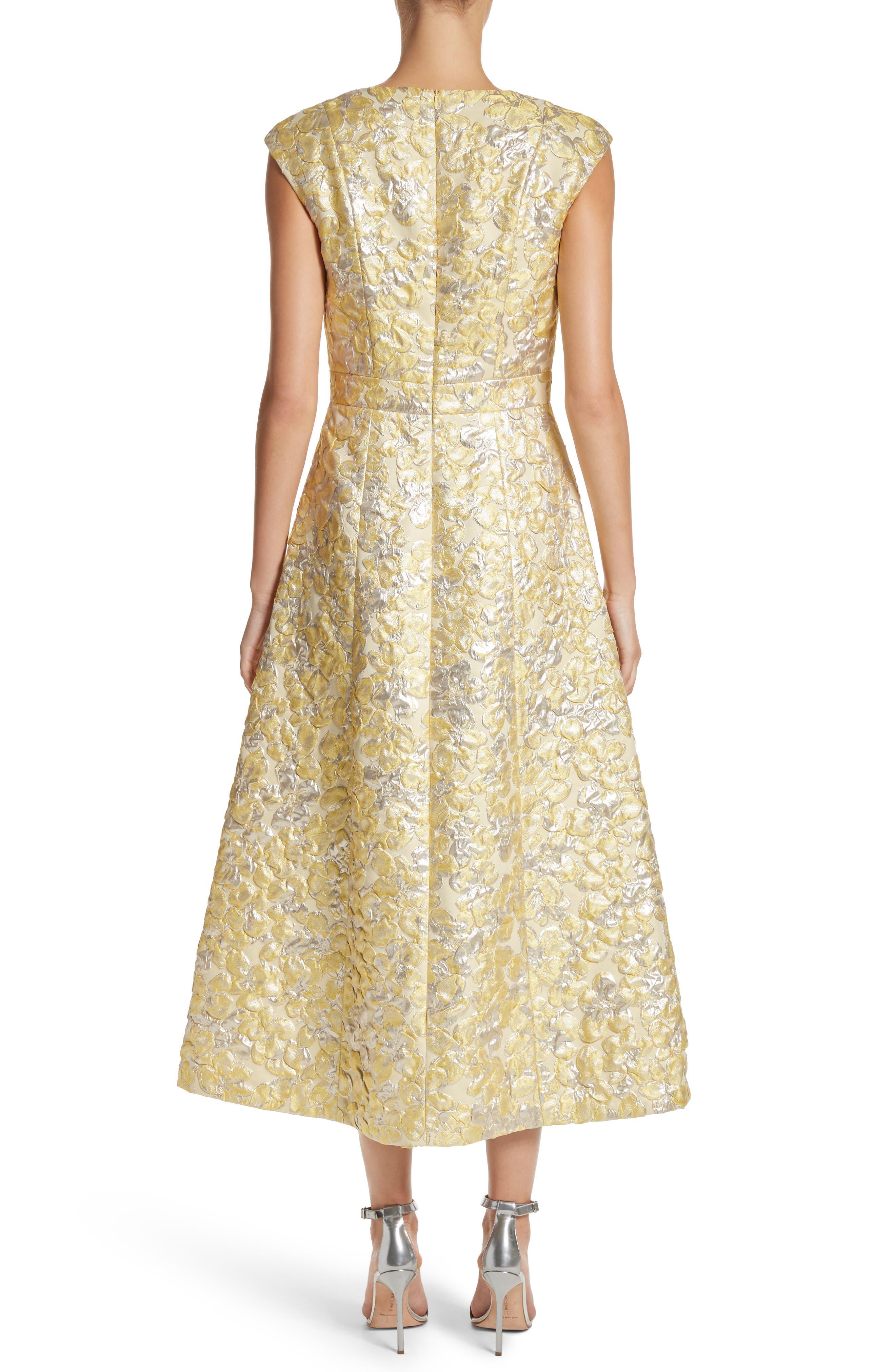 Metallic Floral Jacquard Dress,                             Alternate thumbnail 2, color,                             Lemon Multi