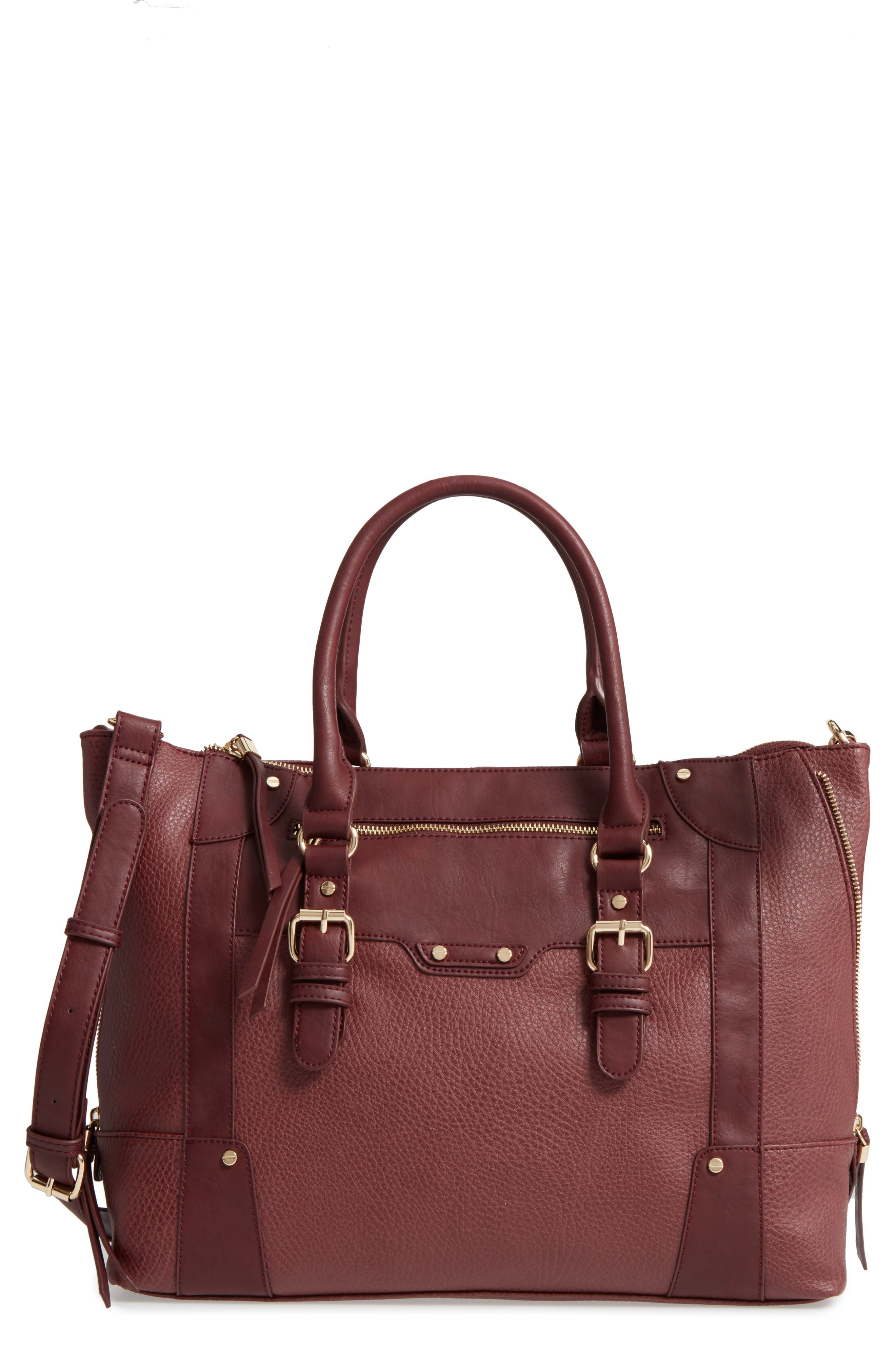 'Susan' Winged Faux Leather Tote,                             Main thumbnail 1, color,                             Oxblood