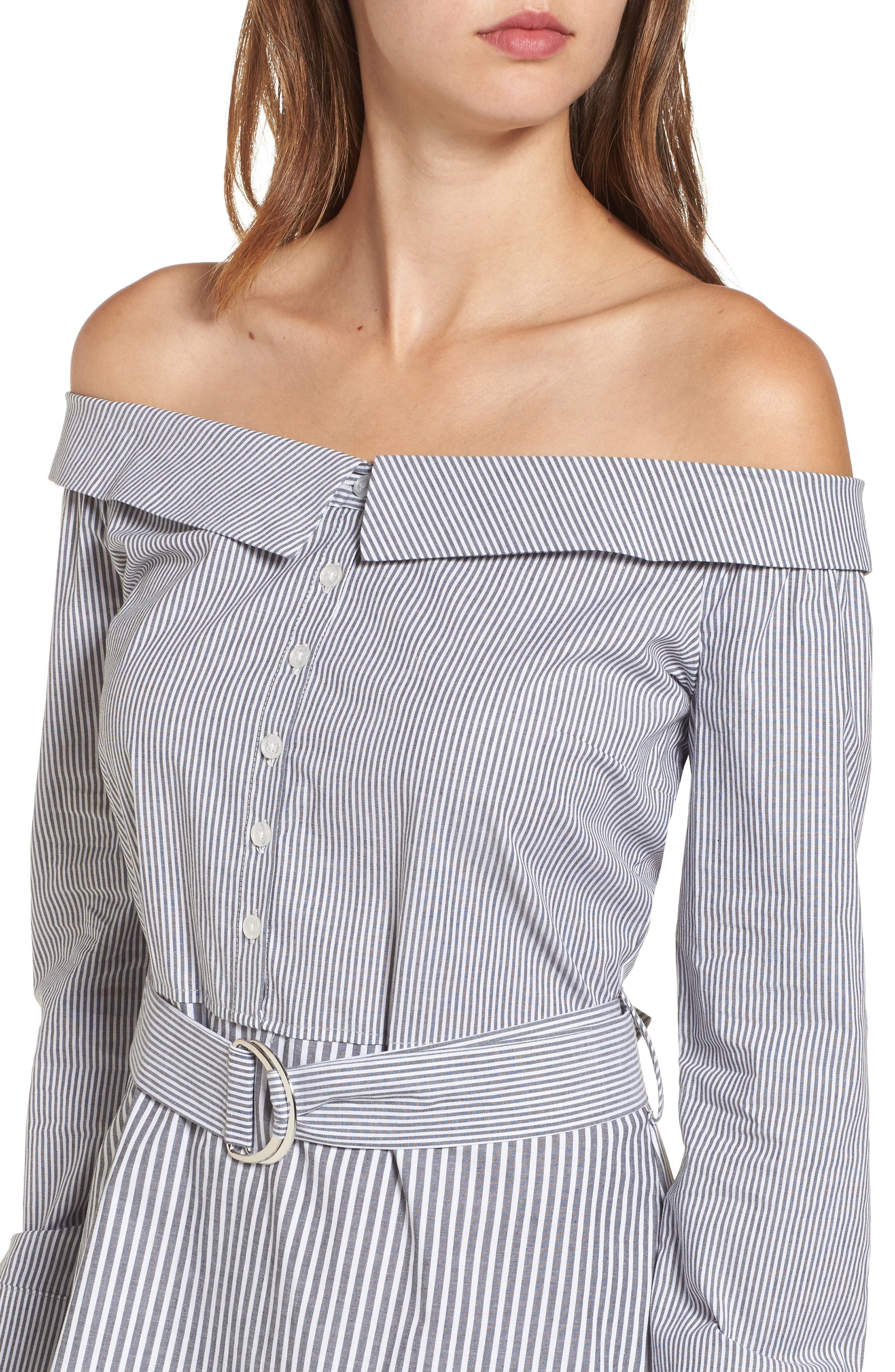 Alternate Image 4  - Socialite Portrait Neck Stripe Poplin Shirtdress