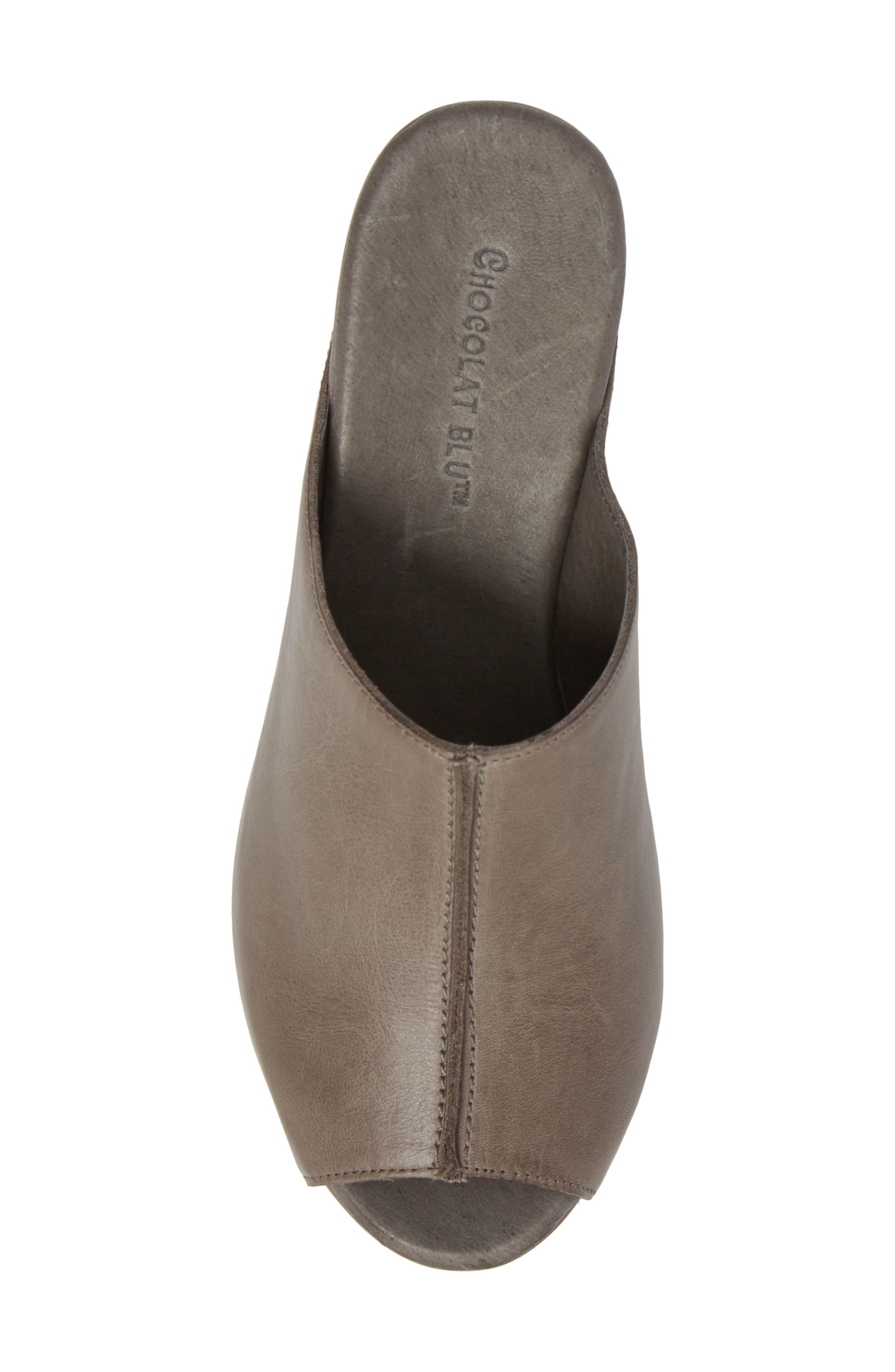 Wynn Peep Toe Mule,                             Alternate thumbnail 5, color,                             Graphite Leather