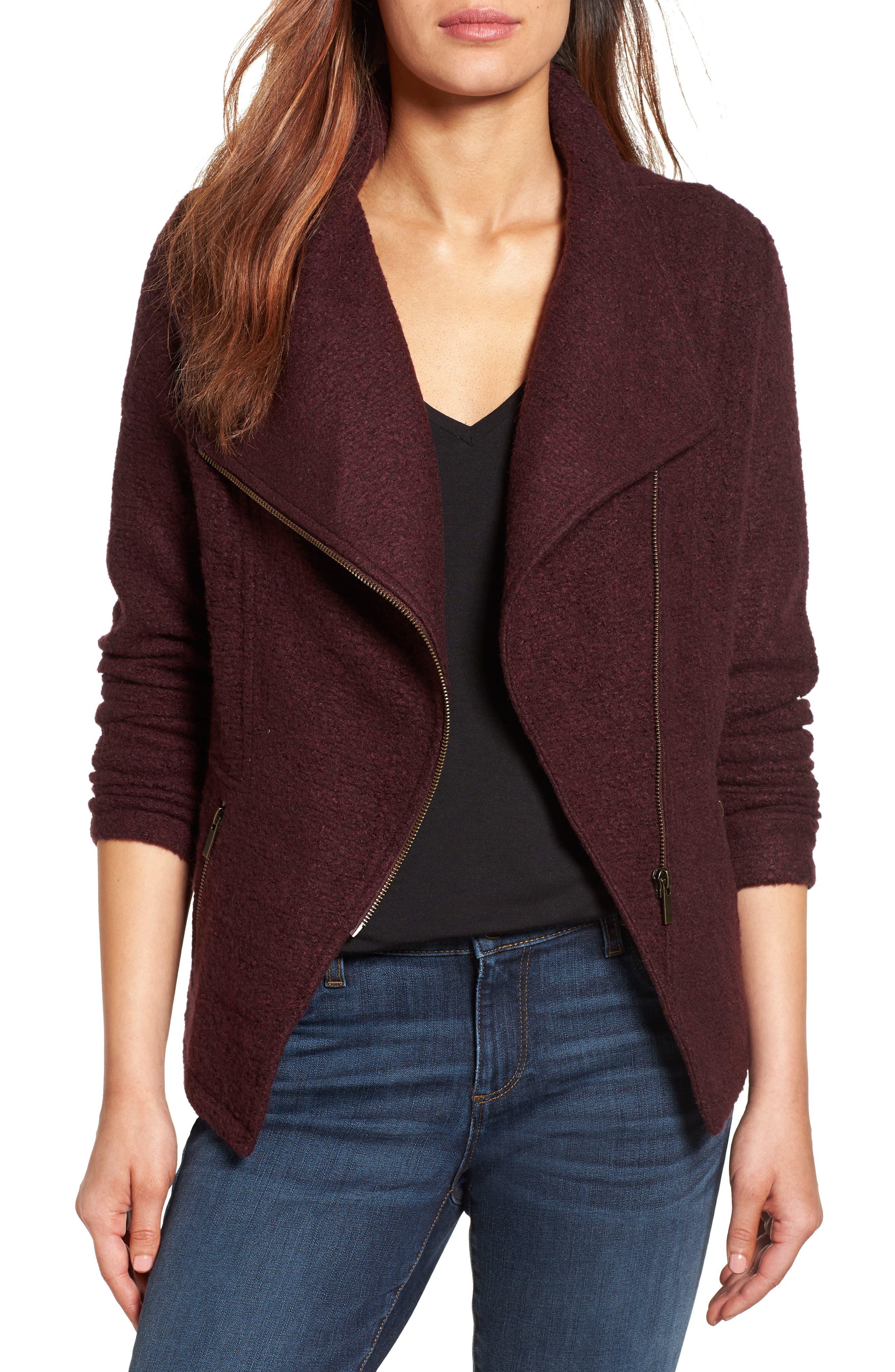 Halogen® Knit Moto Jacket (Regular & Petite)