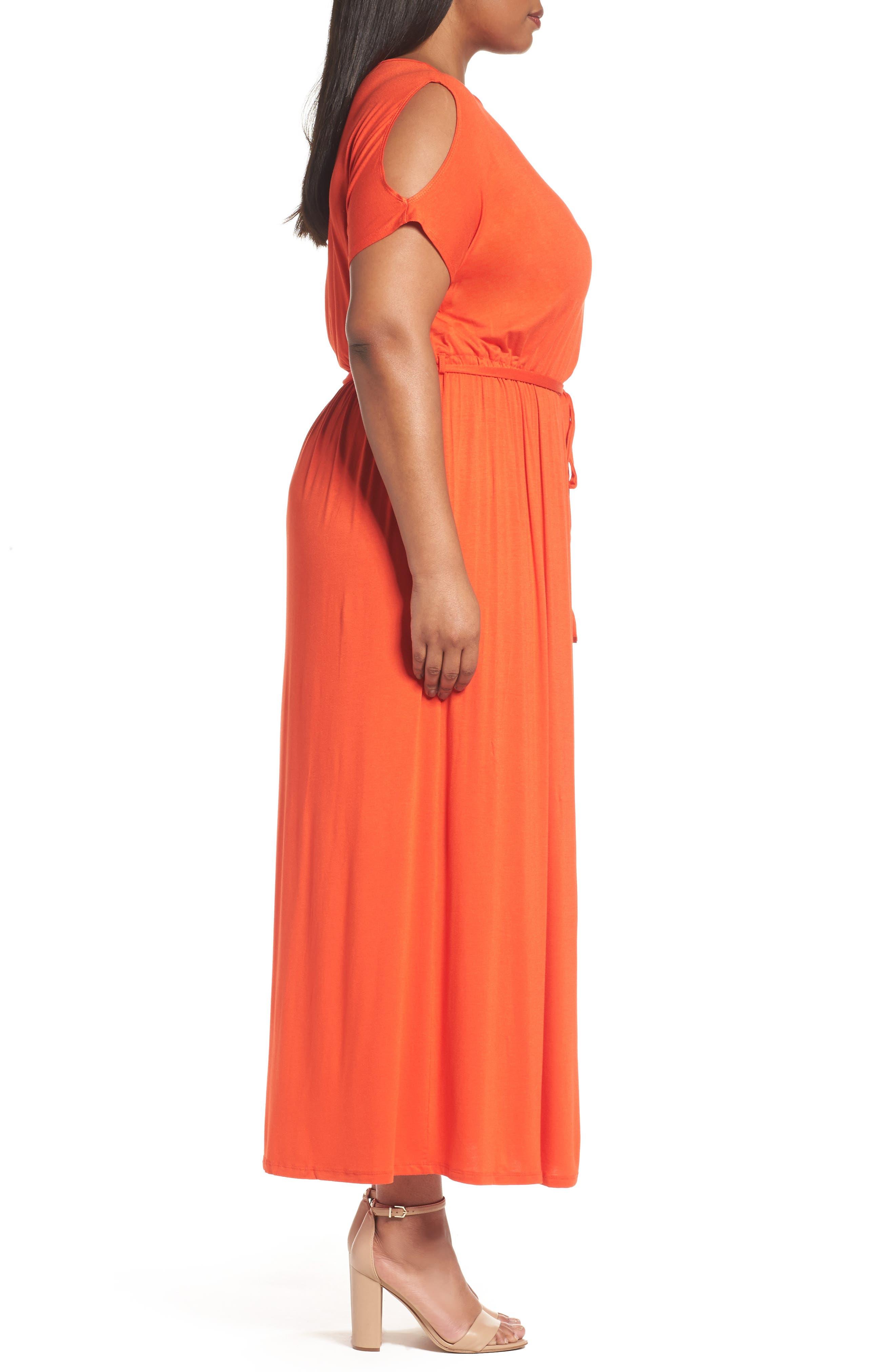 Alternate Image 3  - Dorothy Perkins Jersey Cold Shoulder Maxi Dress (Plus Size)
