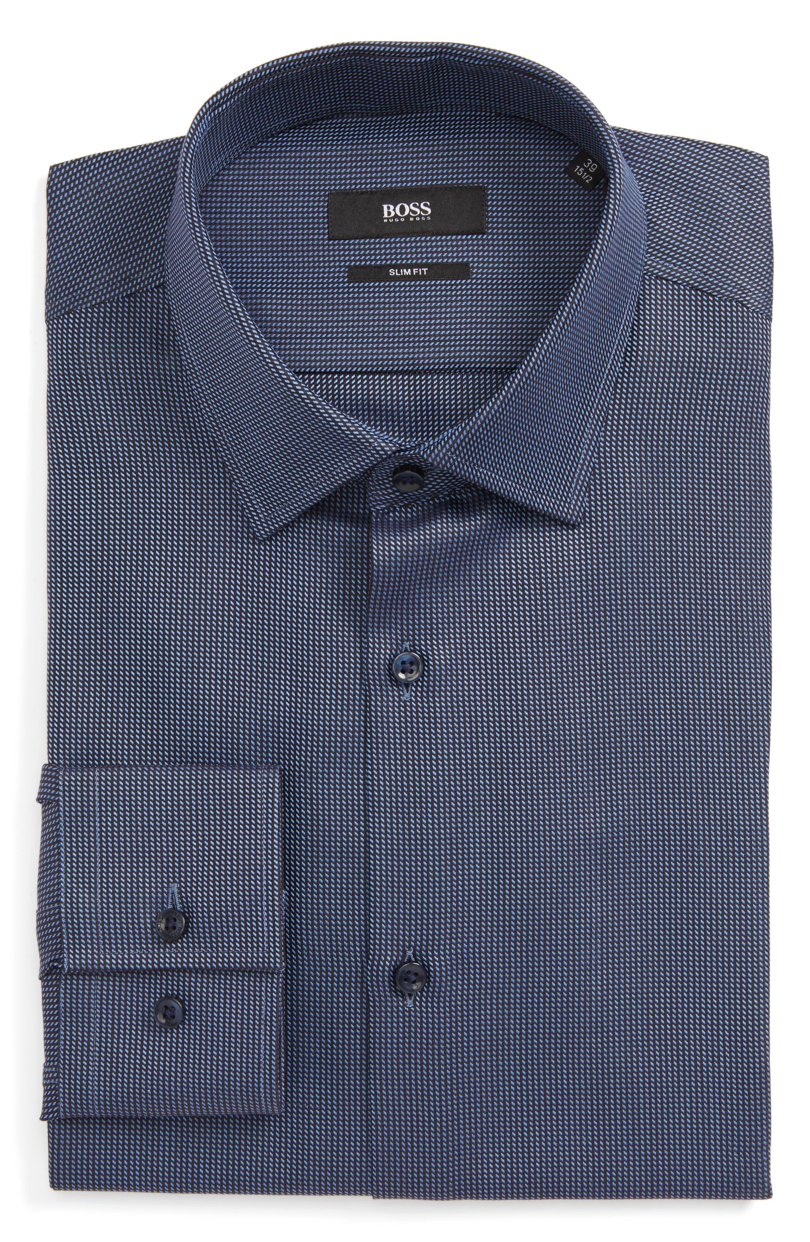 Jenno Slim Fit Dress Shirt,                             Main thumbnail 1, color,                             Navy