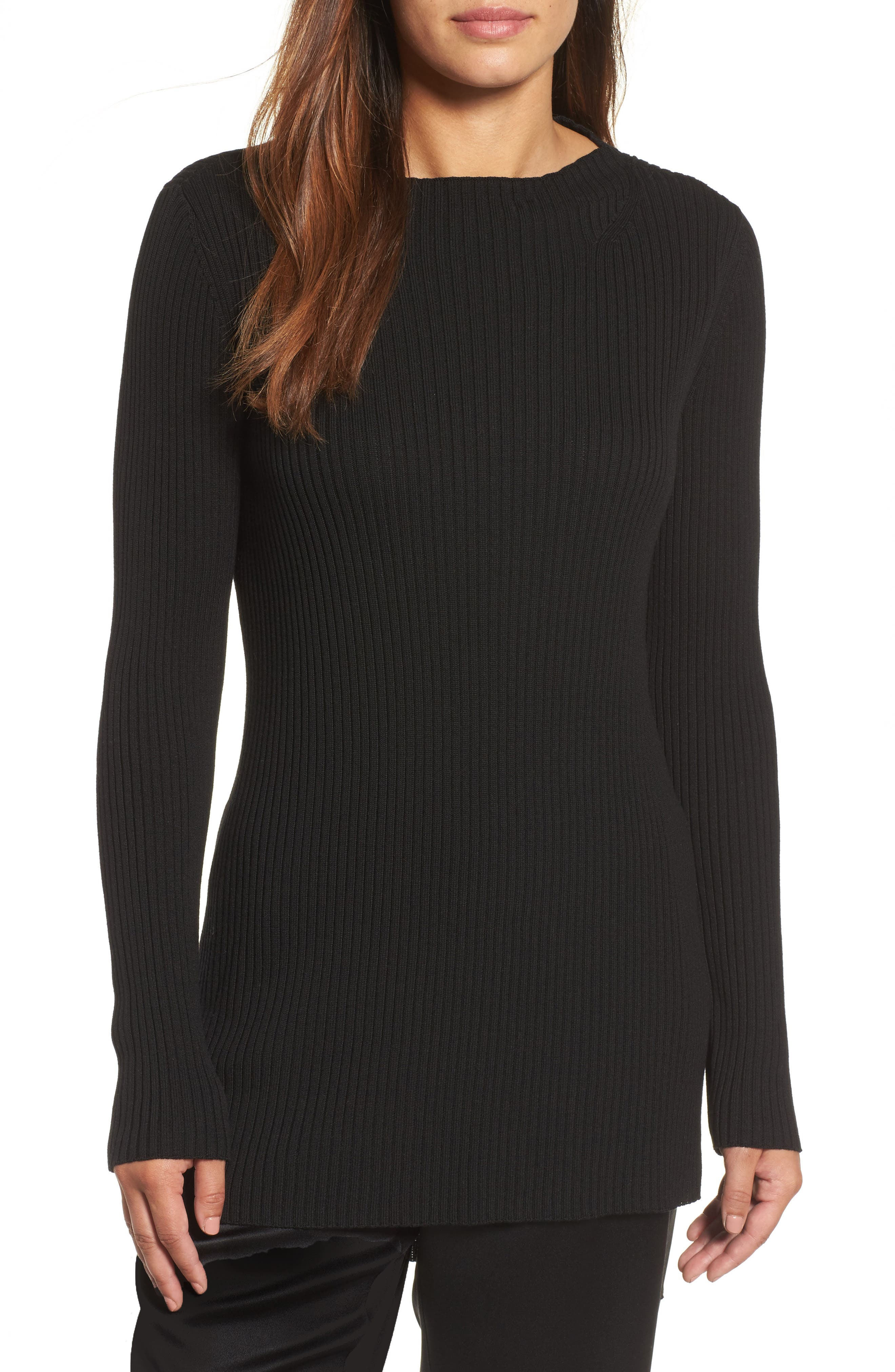 Ribbed Tencel<sup>®</sup> Sweater,                         Main,                         color, Black