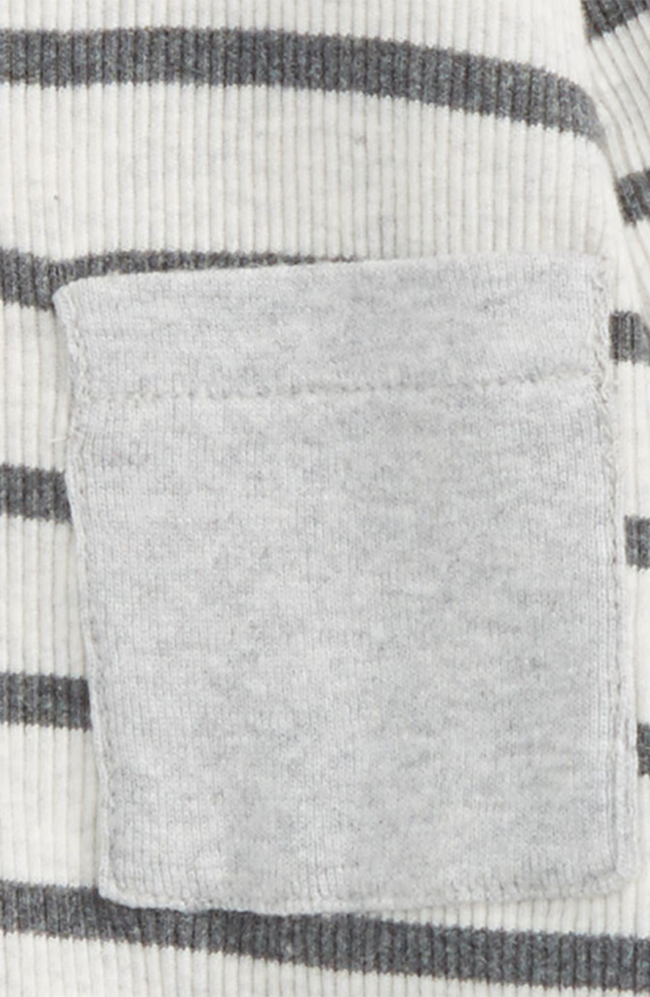 Stripe Dress & Leggings Set,                             Alternate thumbnail 2, color,                             Ivory Egret - Grey Stripe