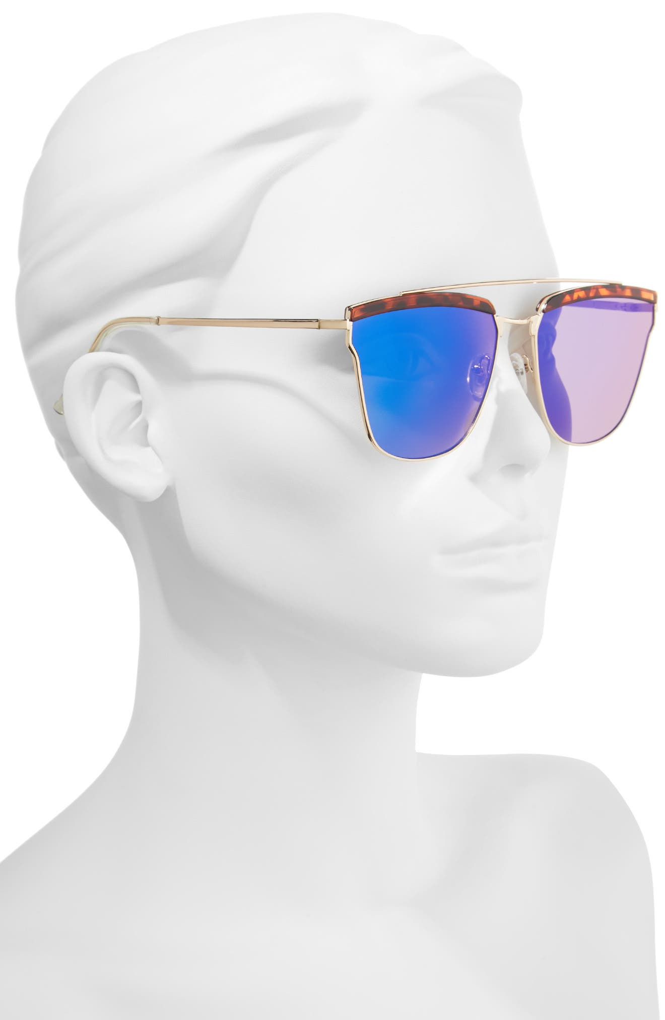 60mm Mirror Sunglasses,                             Alternate thumbnail 2, color,                             Gold/ Tort