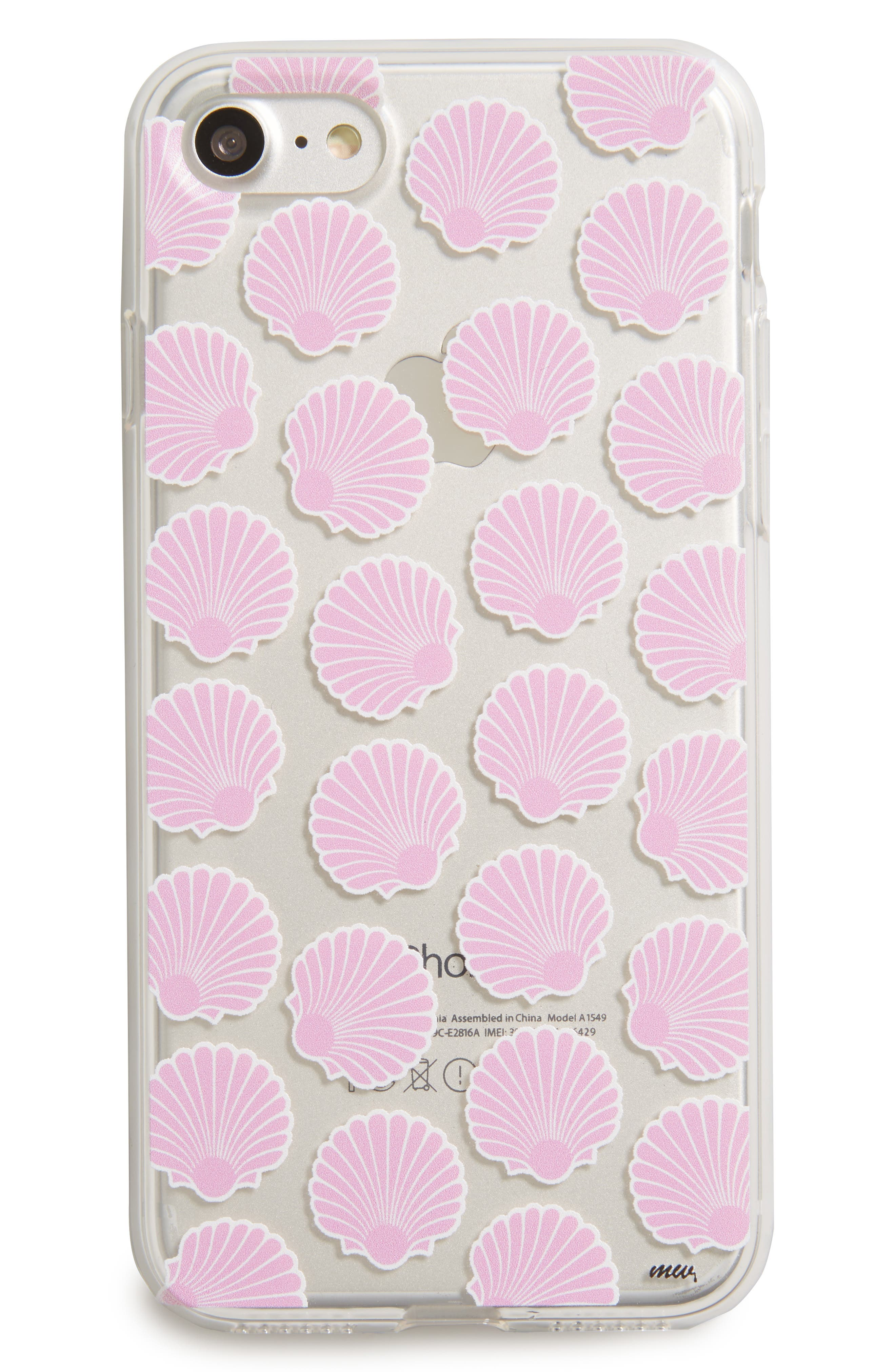 Small Shells iPhone 7 Case,                             Main thumbnail 1, color,                             Clear/ Pink
