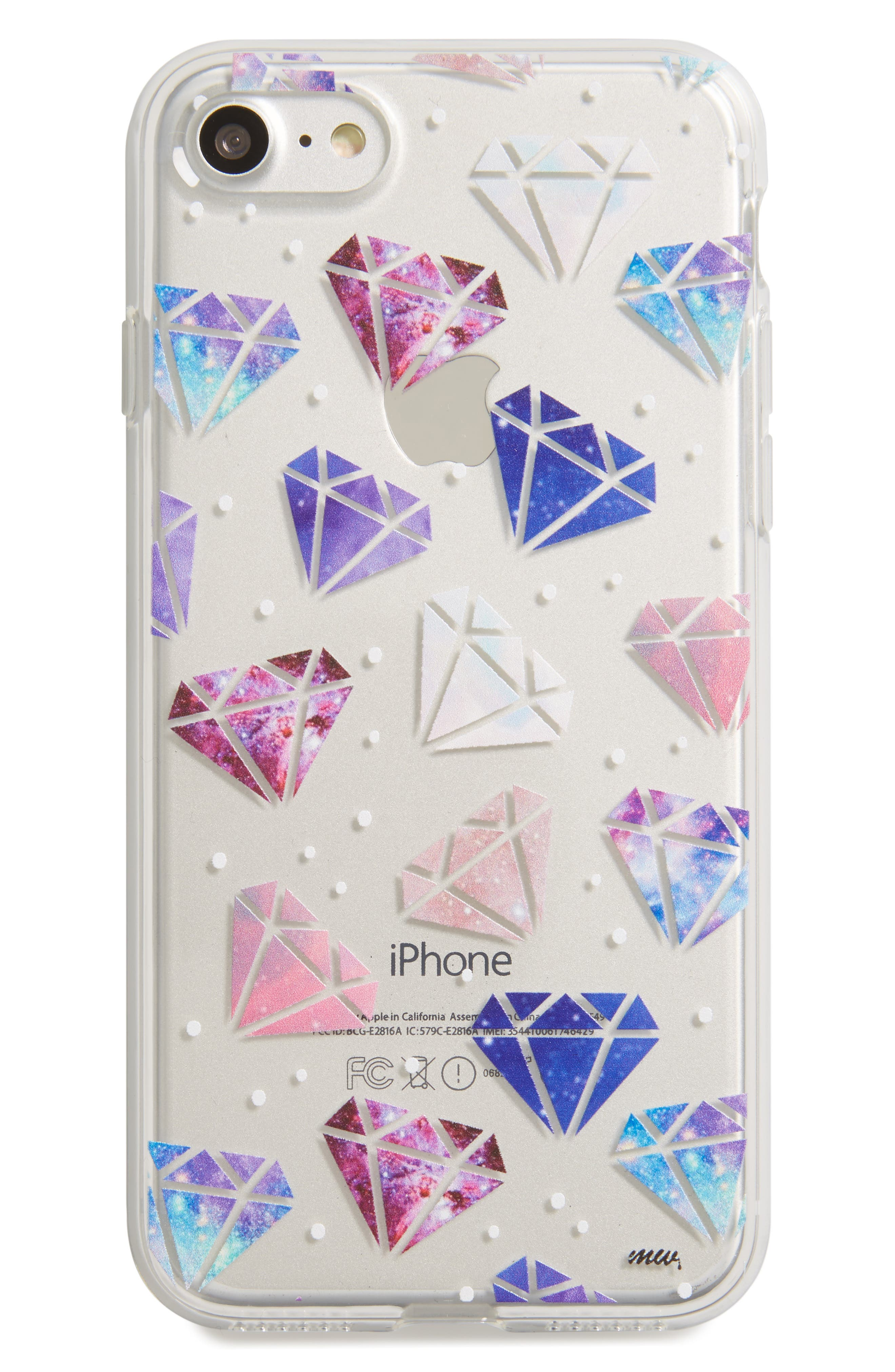 Multicolored Diamonds iPhone 7 Case,                         Main,                         color, Clear/ Multi