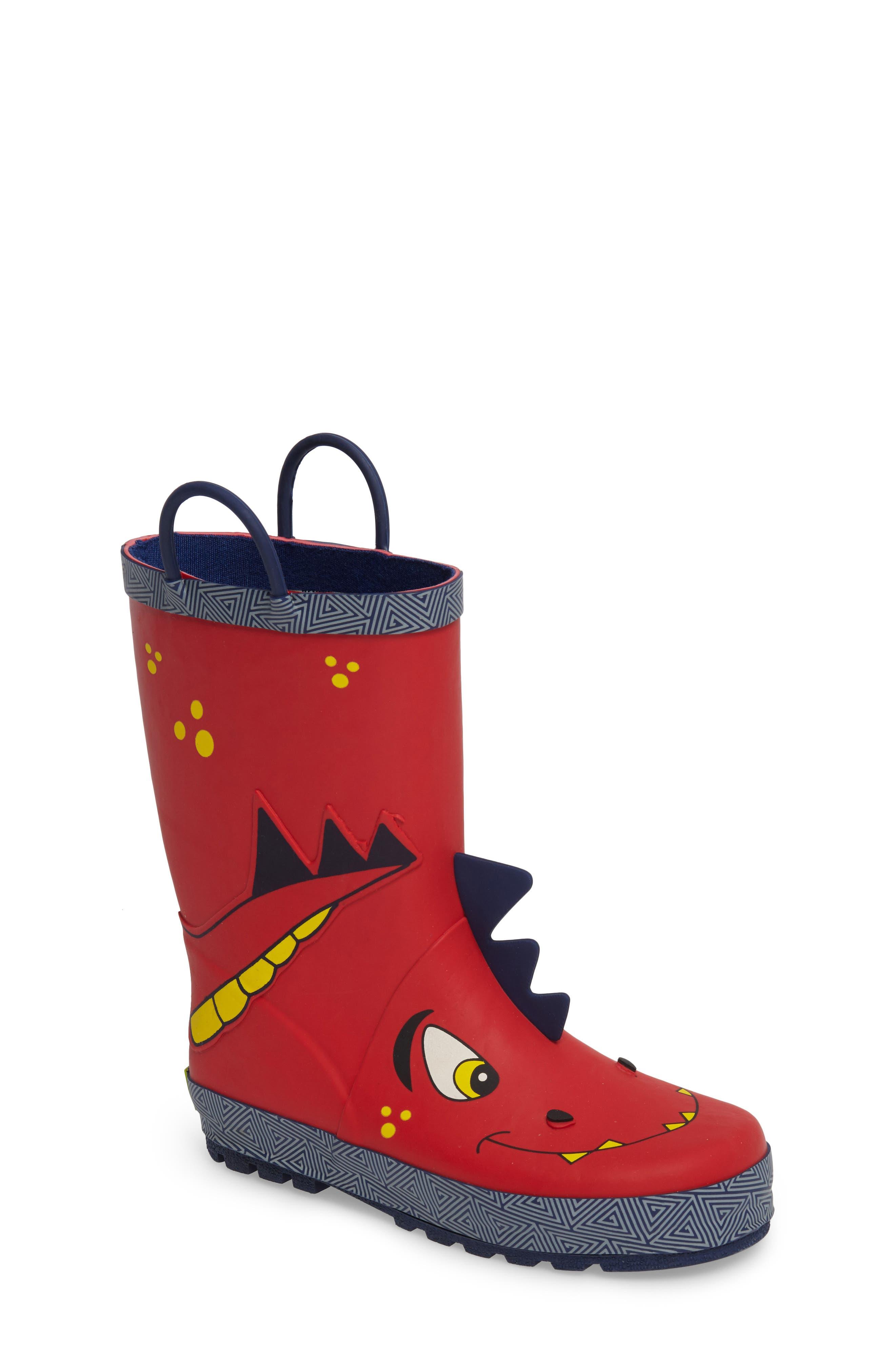 Spike Rain Boot,                             Main thumbnail 1, color,                             Red