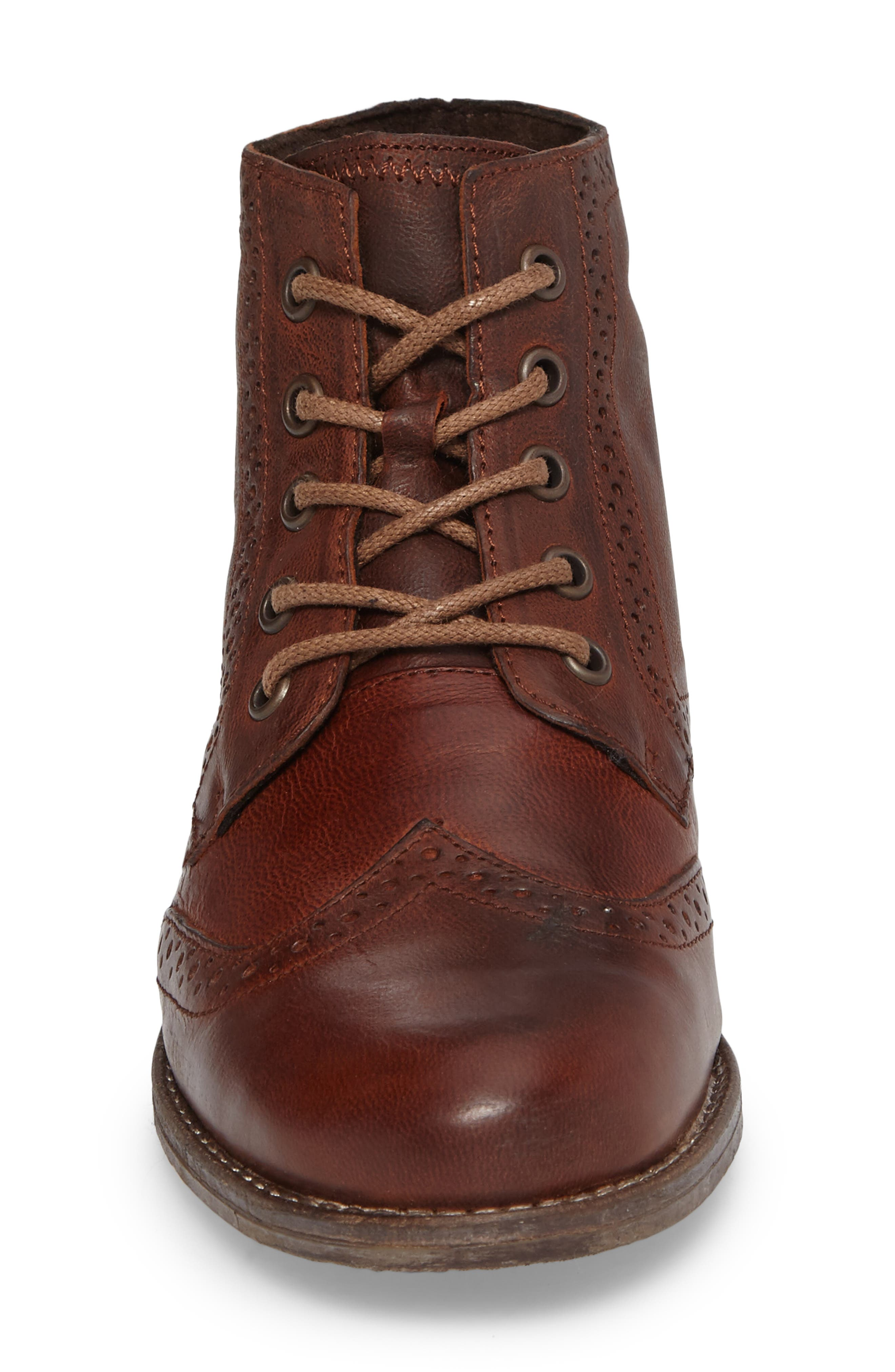 'Sienna 15' Wingtip Bootie,                             Alternate thumbnail 4, color,                             Camel Leather