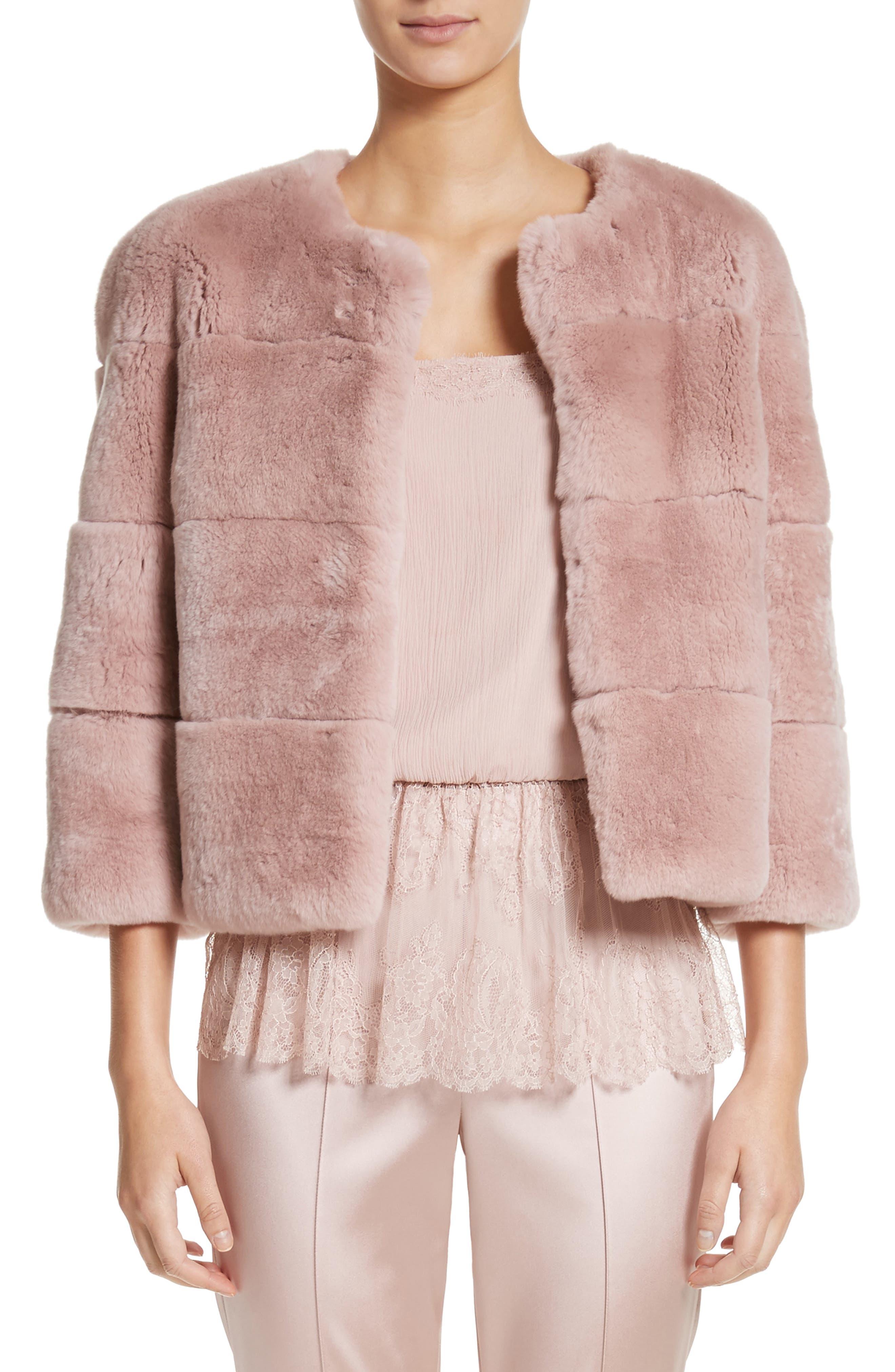 Genuine Rex Rabbit Fur Jacket,                         Main,                         color, Blush
