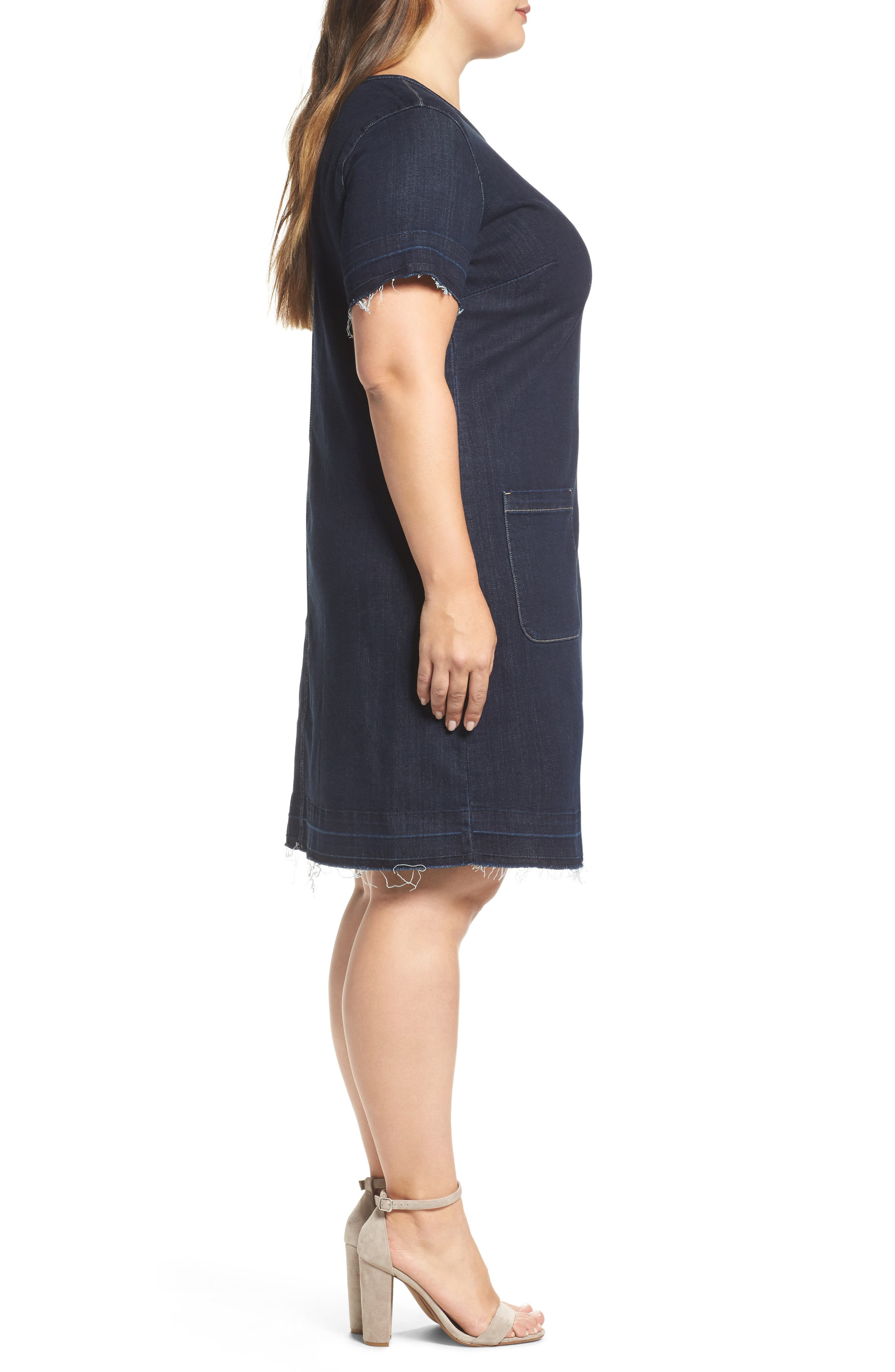 Alternate Image 3  - Two by Vince Camuto Release Hem Denim Dress (Plus Size)