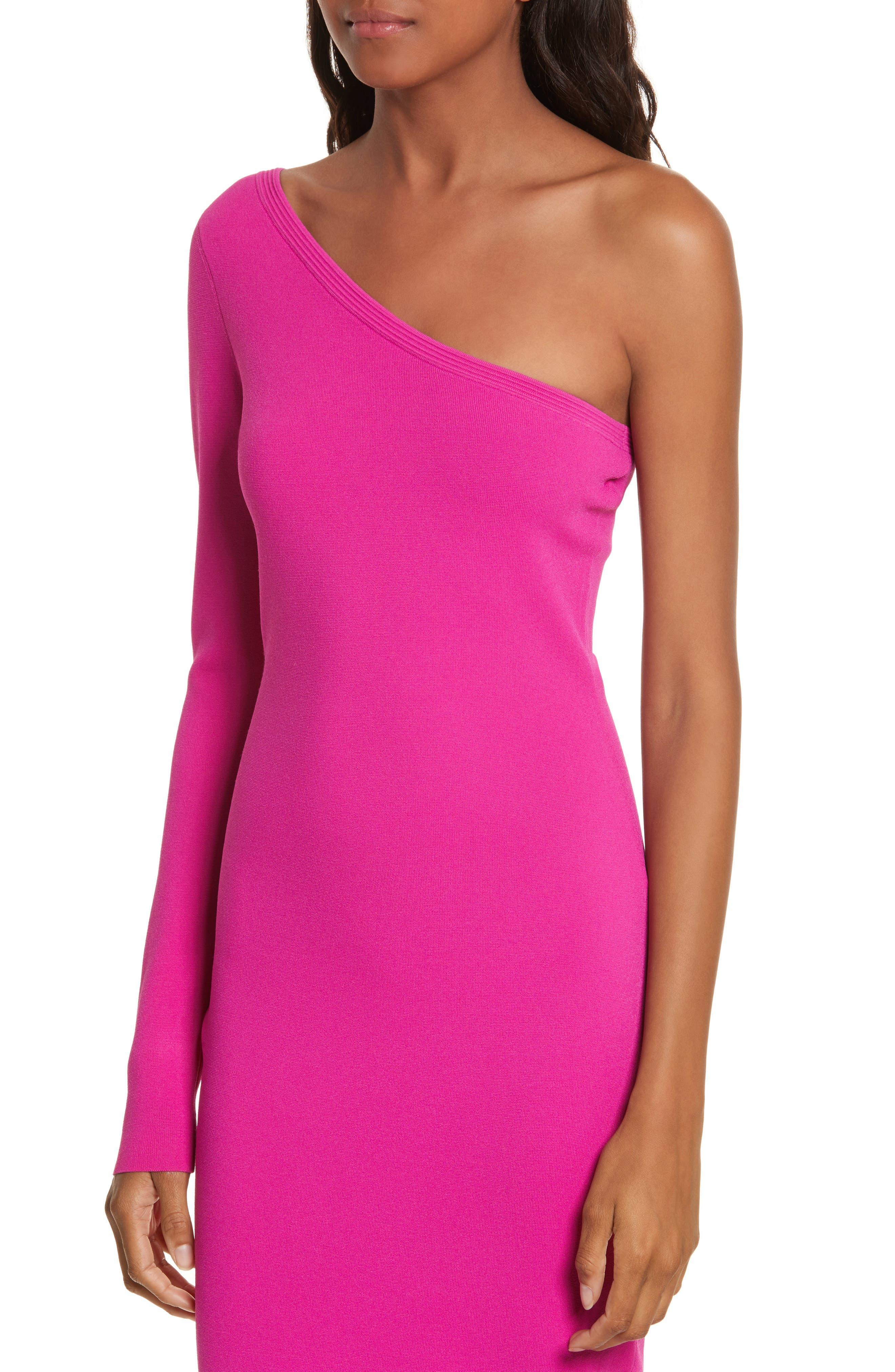 Diane von Furstenberg Knit One-Shoulder Midi Dress,                             Alternate thumbnail 4, color,                             Ribbon Pink