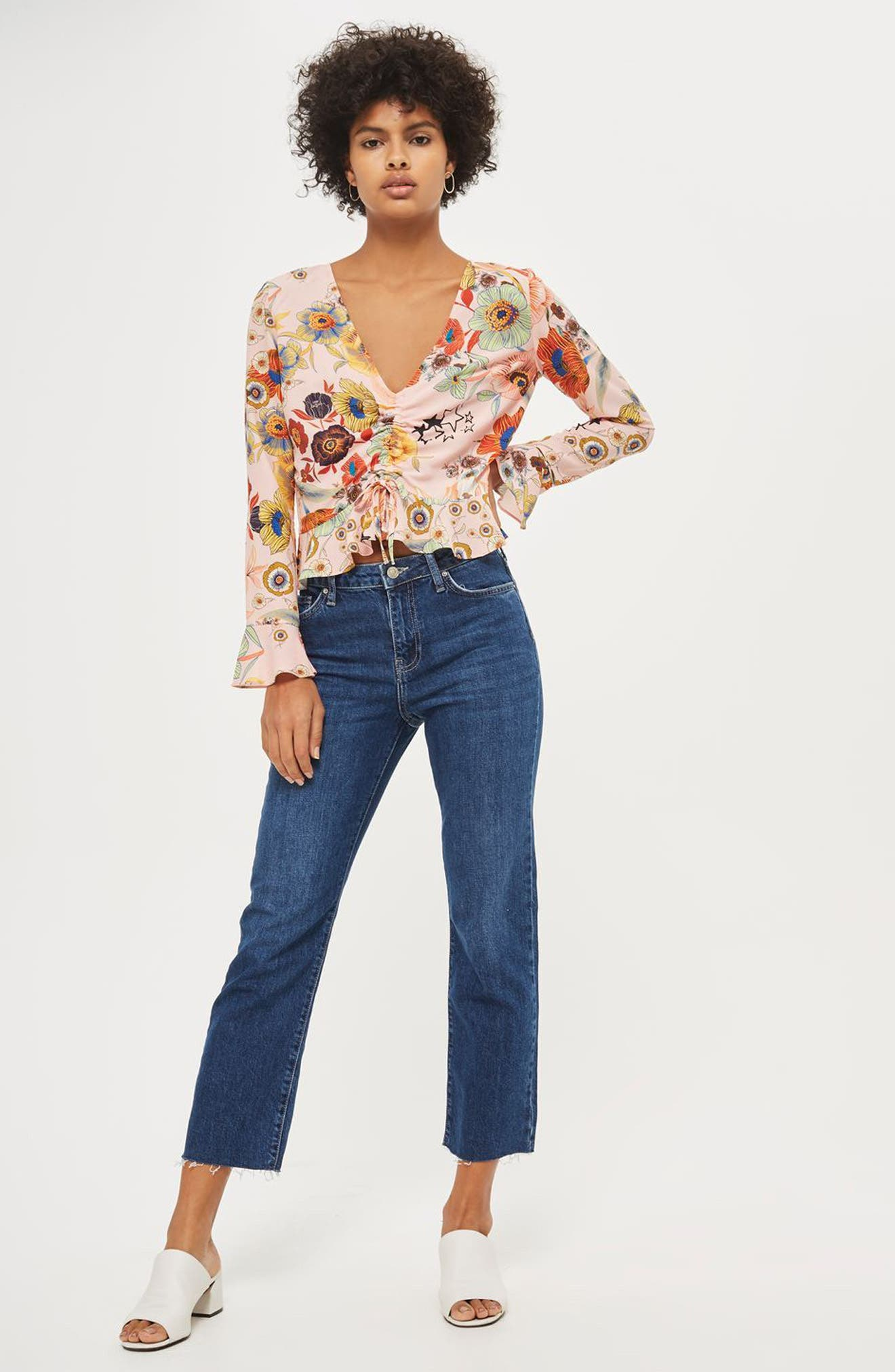 Star & Floral Print Ruched Blouse,                             Alternate thumbnail 2, color,                             Blush Multi