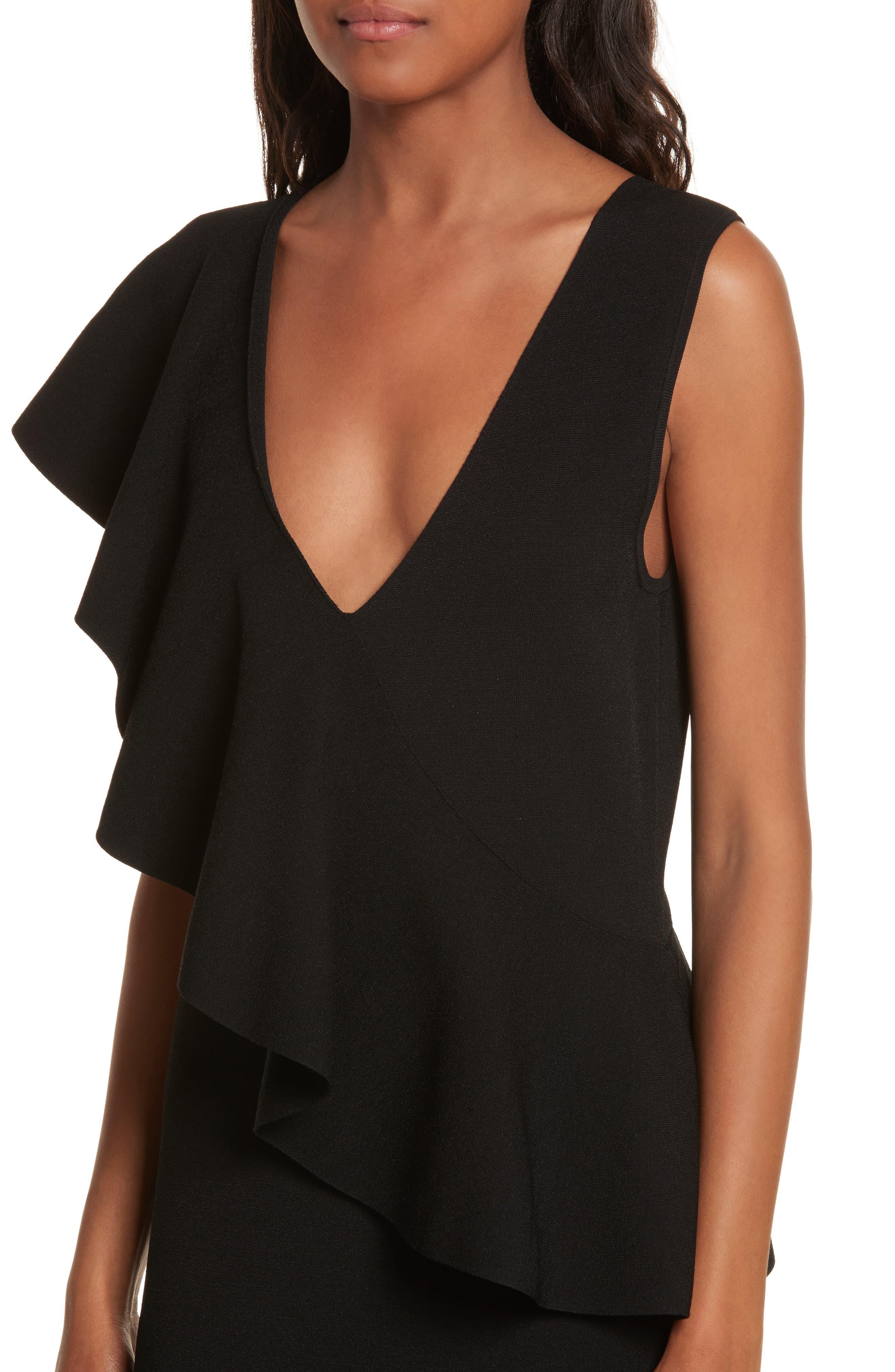Asymmetrical Ruffle Dress,                             Alternate thumbnail 4, color,                             Black