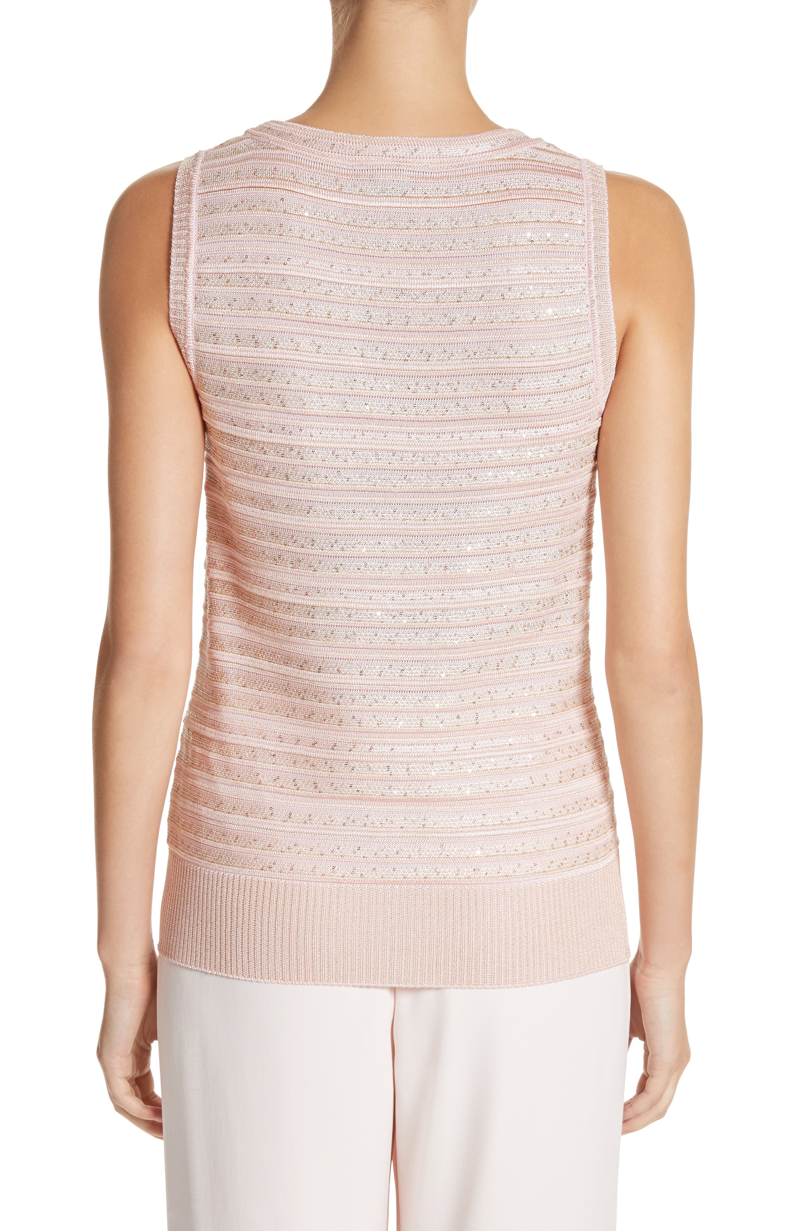 Welted Sequin Knit Shell,                             Alternate thumbnail 2, color,                             Blush
