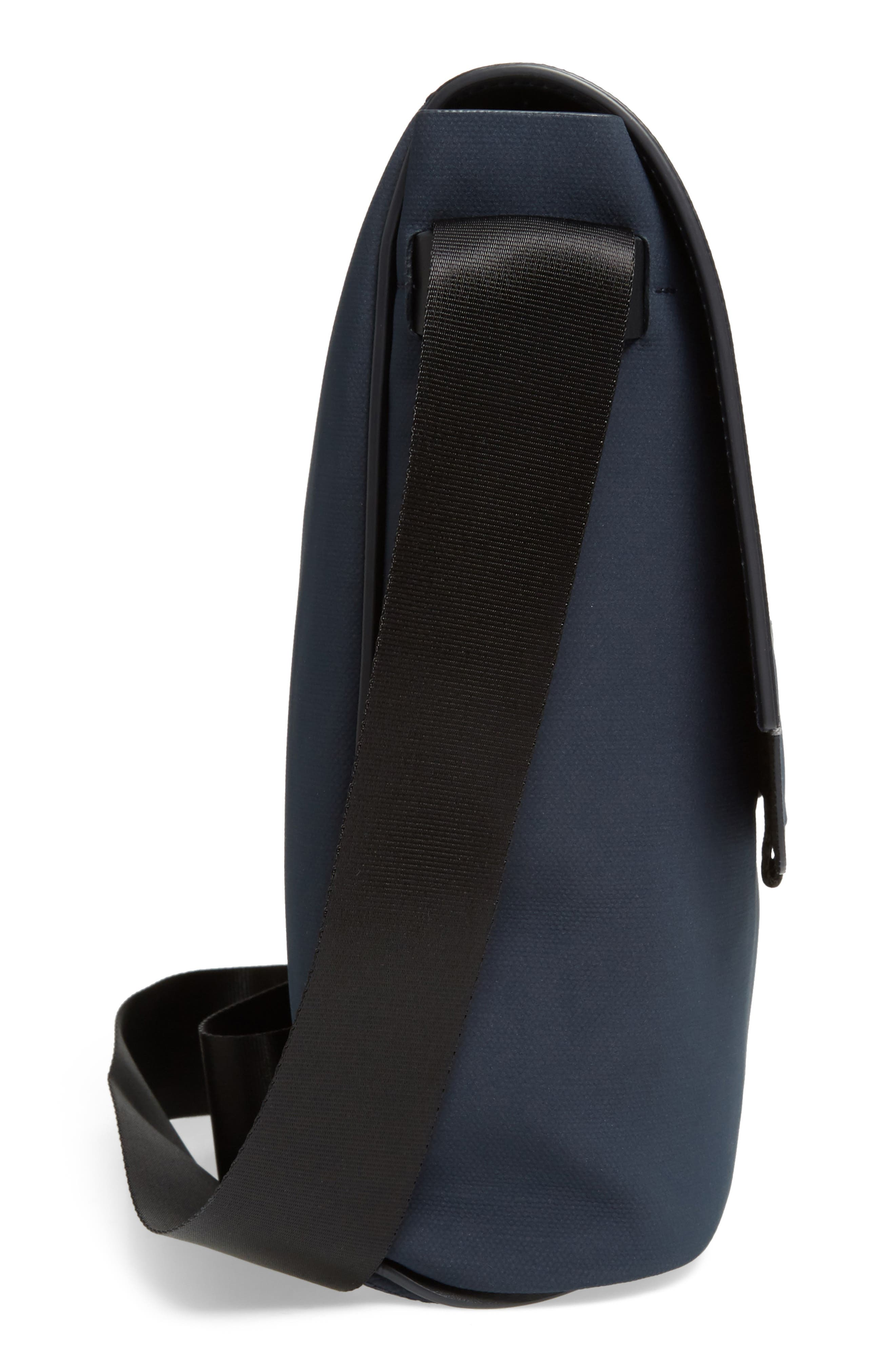 Canvas Messenger Bag,                             Alternate thumbnail 5, color,                             Navy Canvas/ Navy Leather