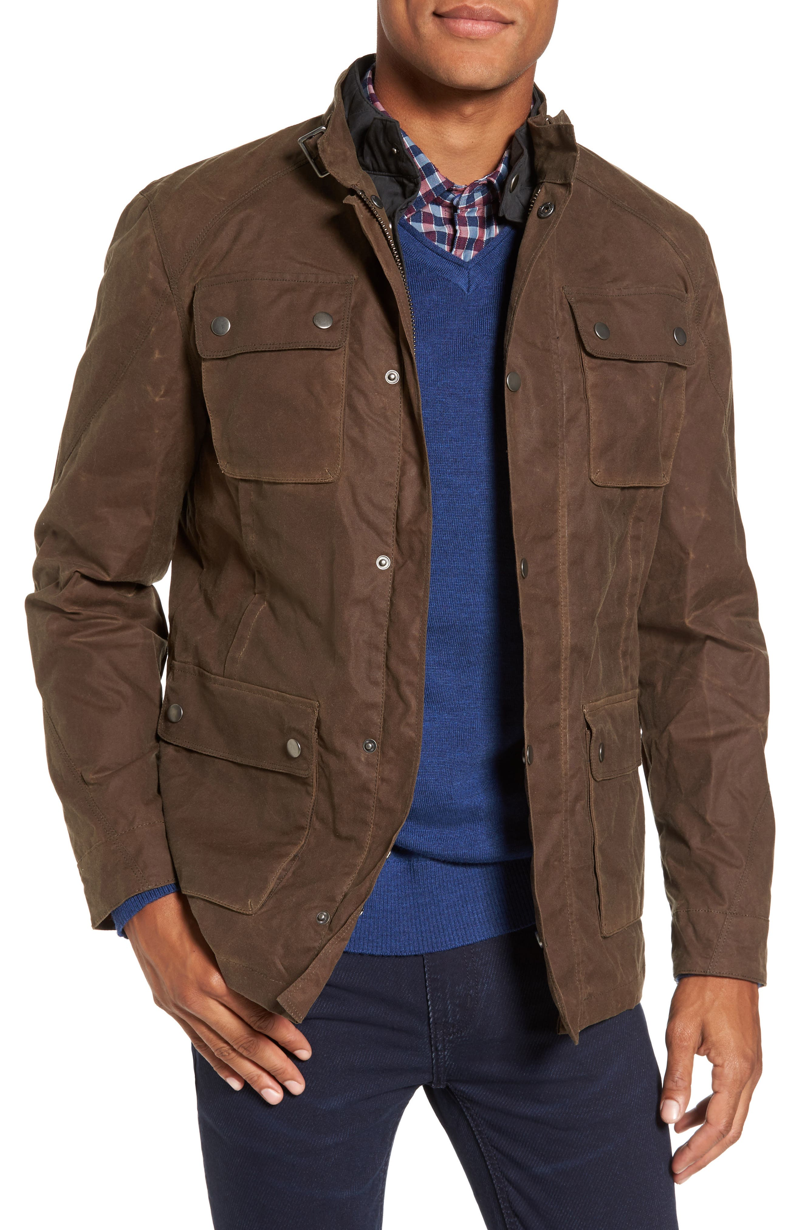 3-in-1 Waxed Cotton Jacket with Removable Vest,                         Main,                         color, Dark Tan