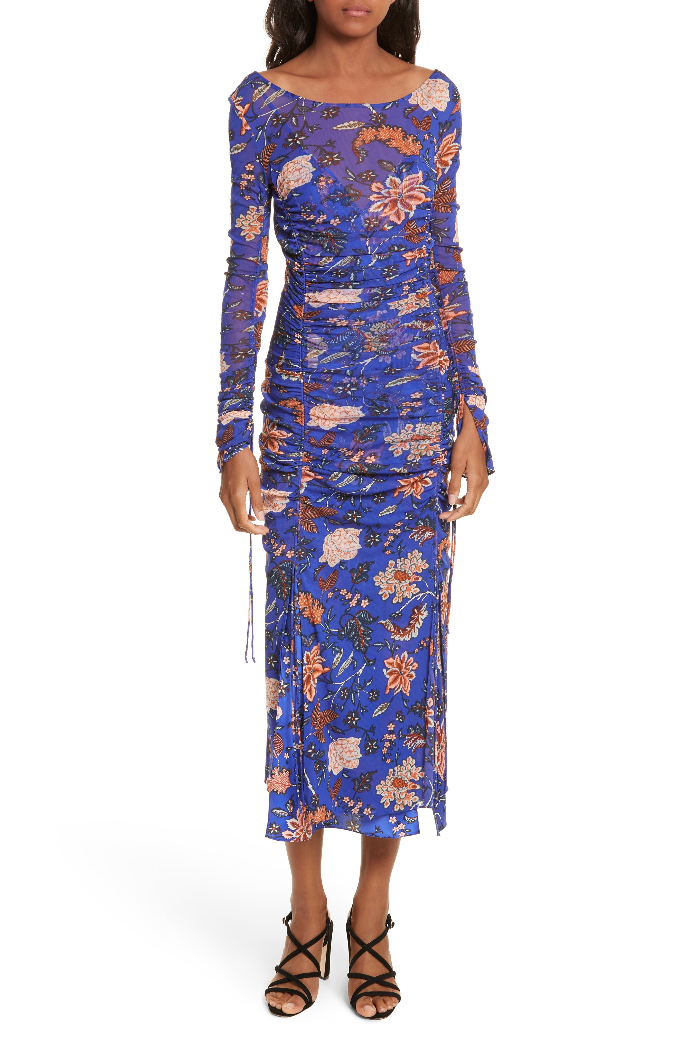 Diane von Furstenberg Mesh Overlay Floral Midi Dress,                         Main,                         color, Canton Electric Blue