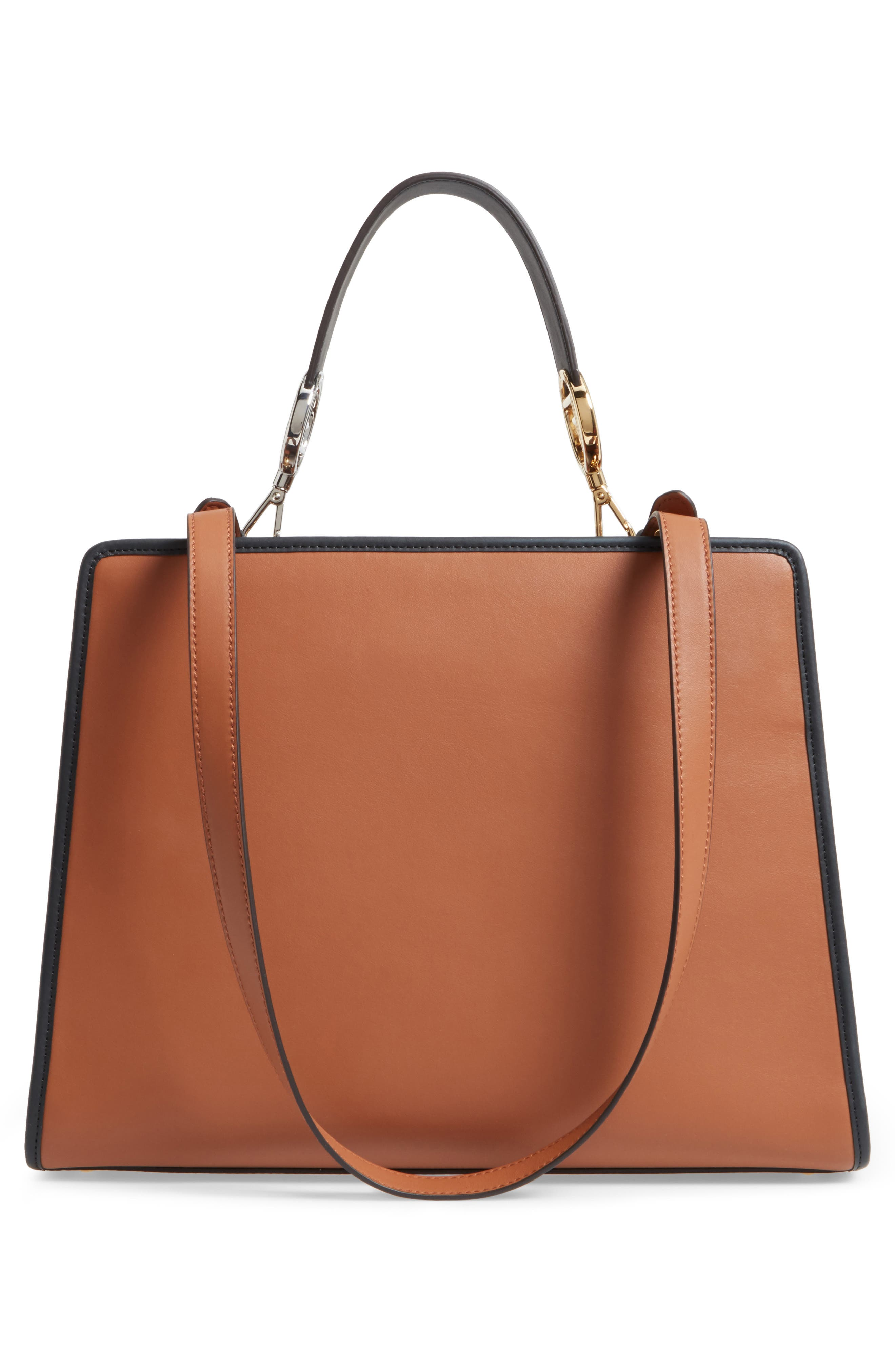 Runaway Medium Leather Tote Bag,                             Alternate thumbnail 3, color,                             Brown
