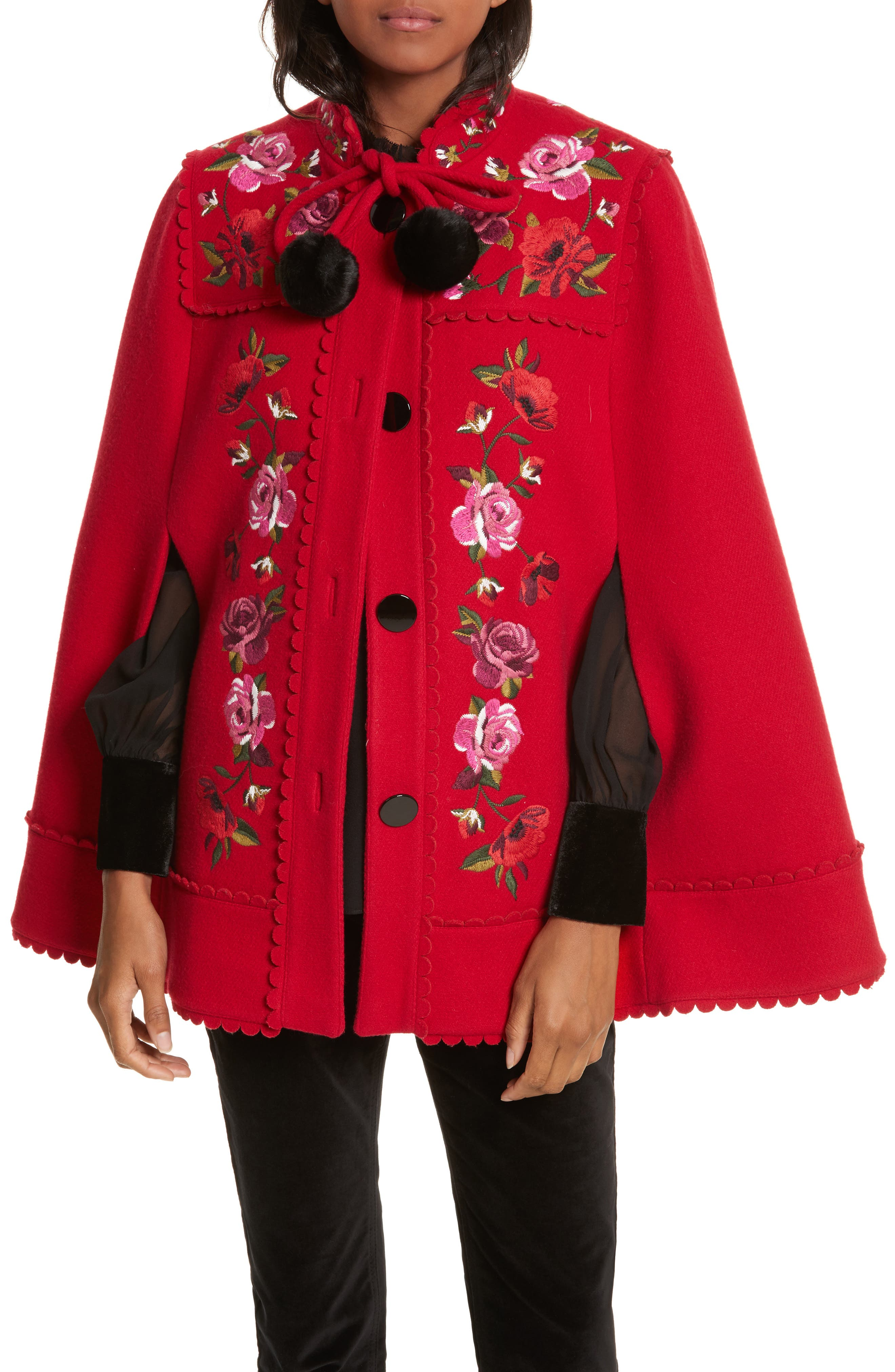 mari wool blend cape,                         Main,                         color, Charm Red
