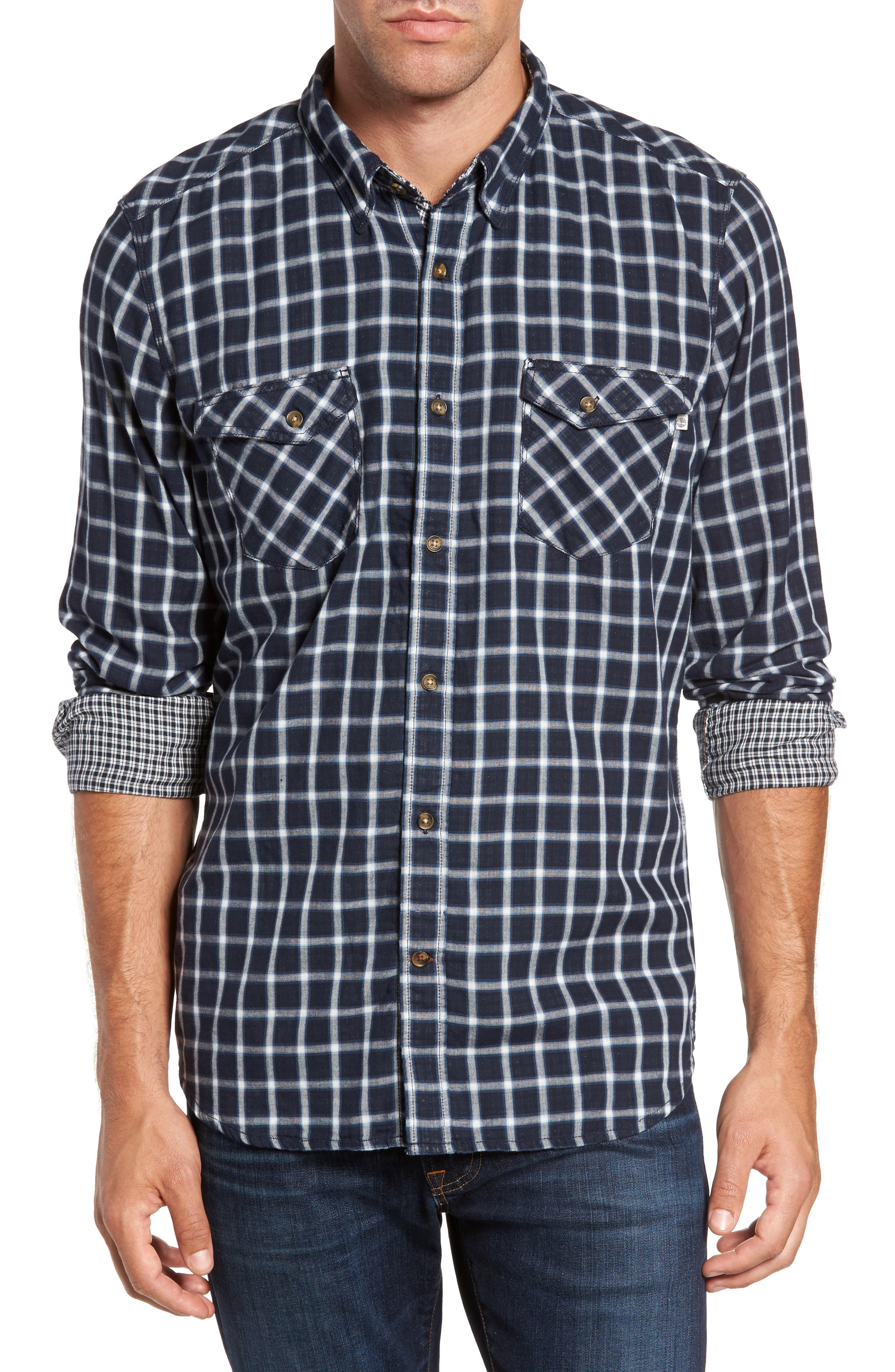 Branch River Double Layer Sport Shirt,                         Main,                         color, Dark Sapphire Blue