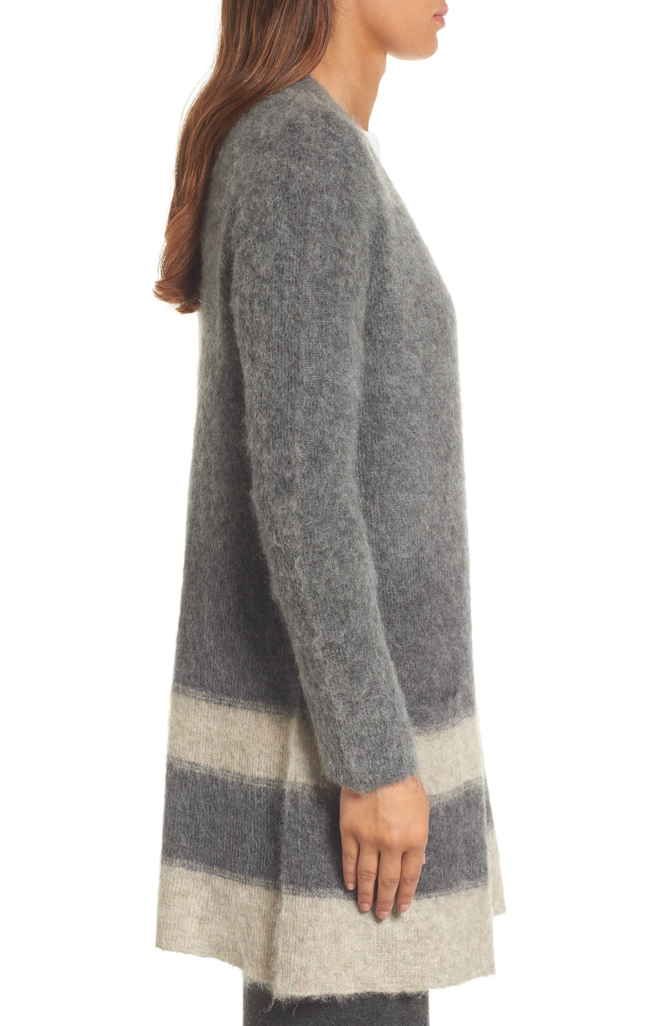 Long Open-Front Cardigan,                             Alternate thumbnail 3, color,                             Maple Oat