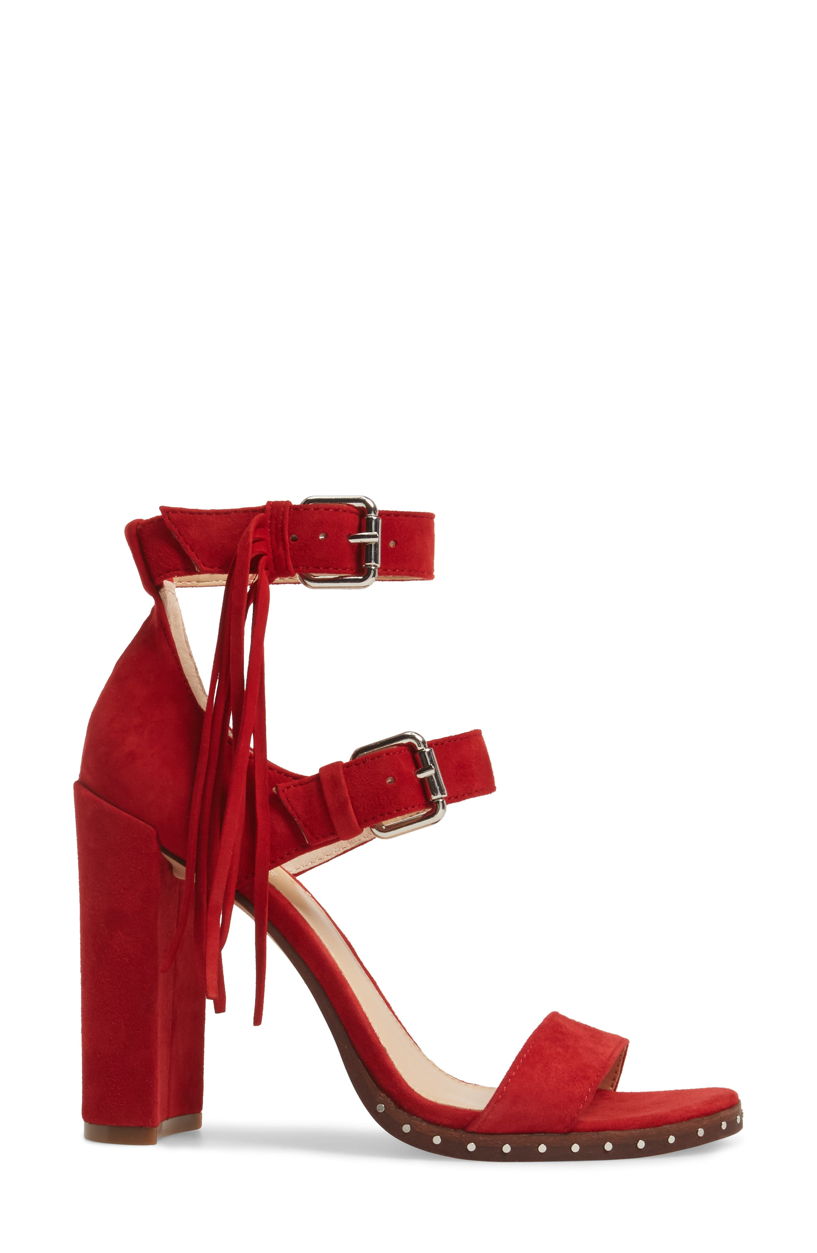 Jesina Sandal,                             Alternate thumbnail 3, color,                             Cherry Red Suede